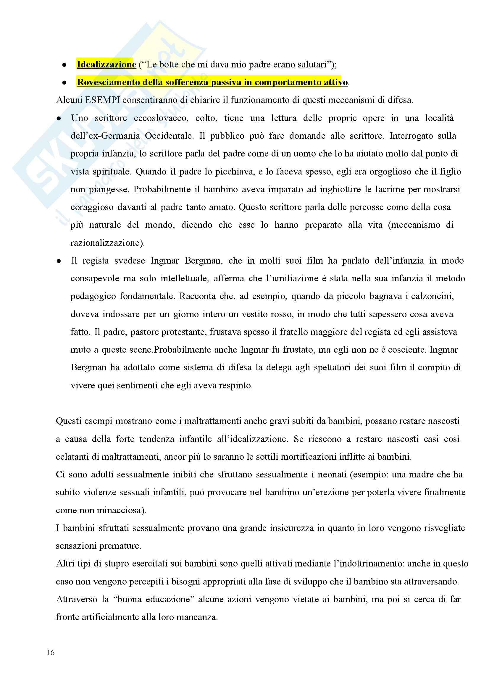 Riassunto esame Clinica della Formazione, prof. Riva, libro consigliato Il Dramma del Bambino Dotato e la Ricerca del Vero Sè di Miller Pag. 16