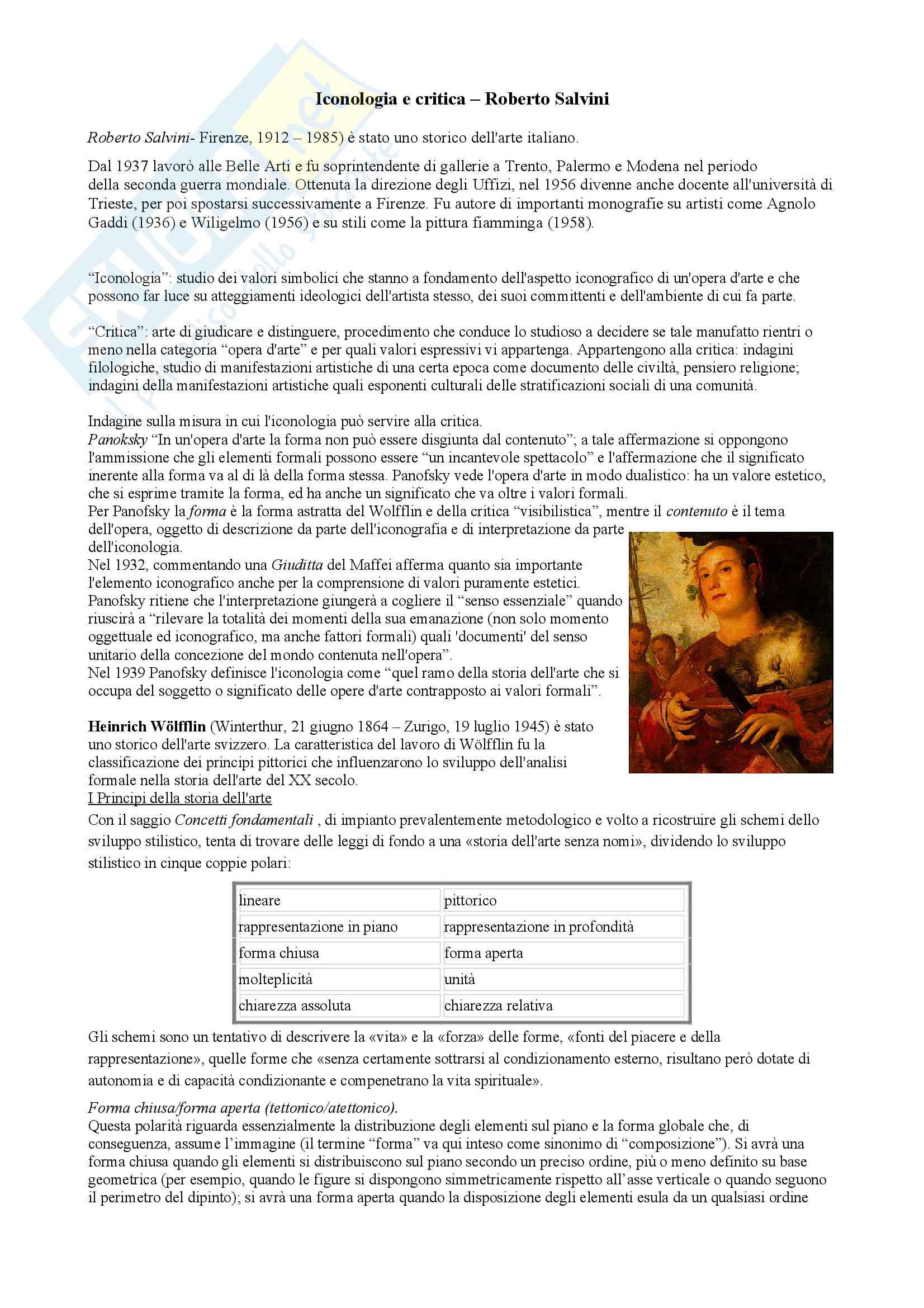 Riassunto esame iconologia e iconografia prof Cavicchioli, libro consigliato Iconologia e critica, Salvini