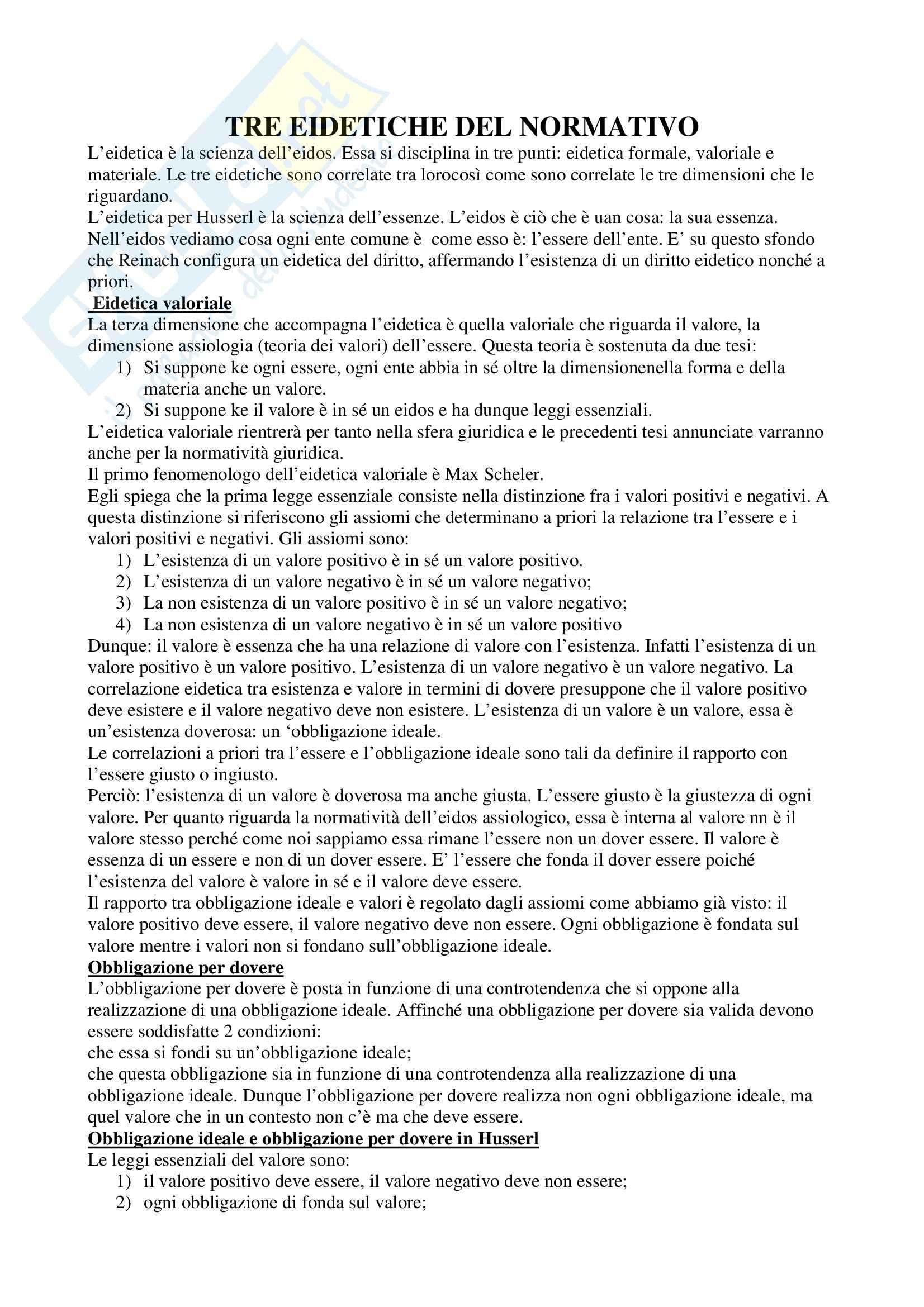 Riassunto esame Filosofia del Diritto, prof. indefinito, libro consigliato Tre Eidetiche del Normativo, Radbruch