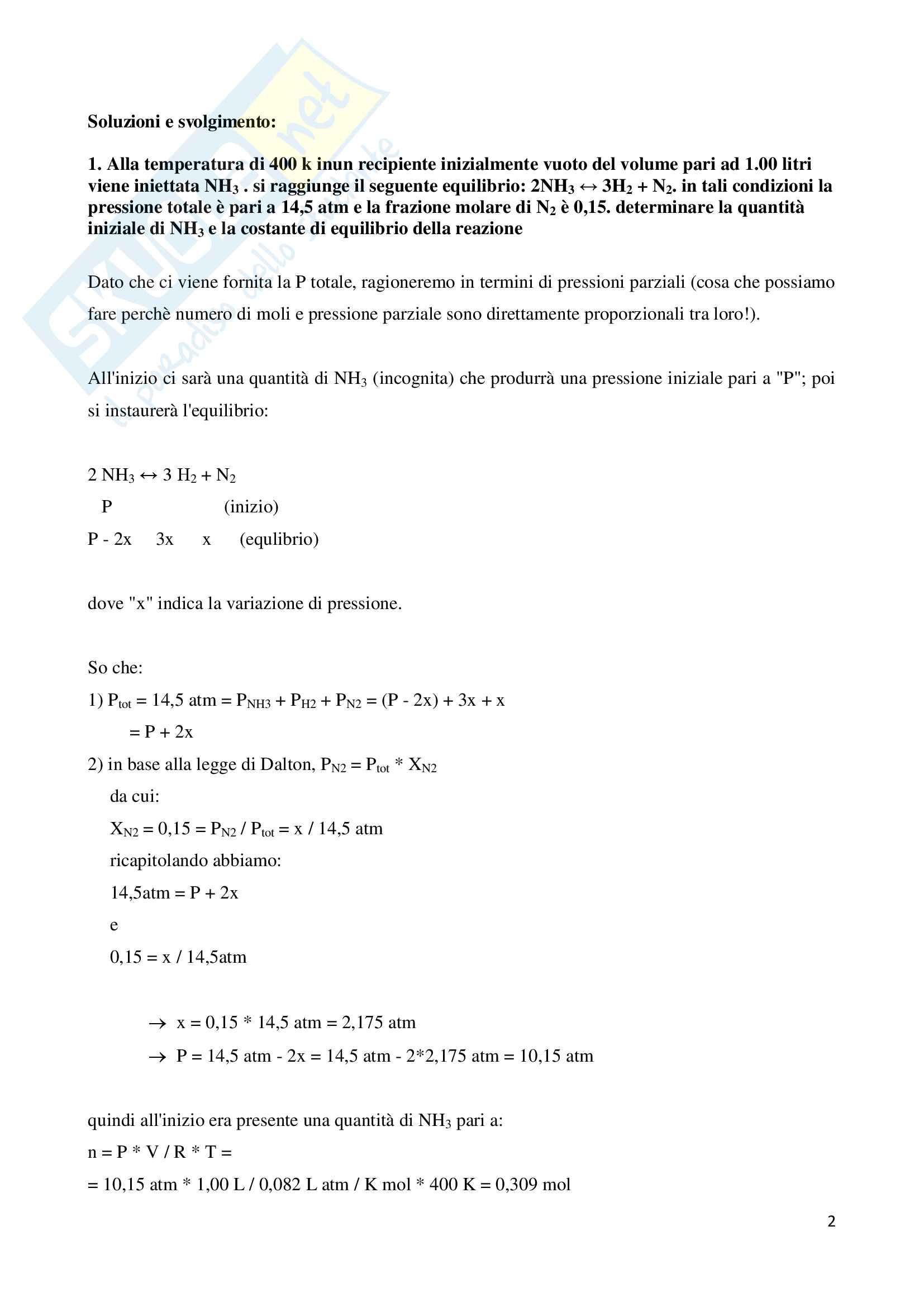 Esercizi sugli equilibri in fase gassosa Pag. 2