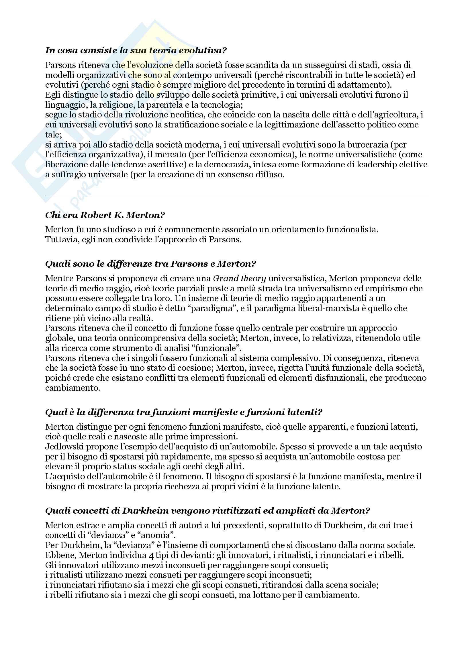 Esame di sociologia, domande e risposte su tutto il programma Pag. 26