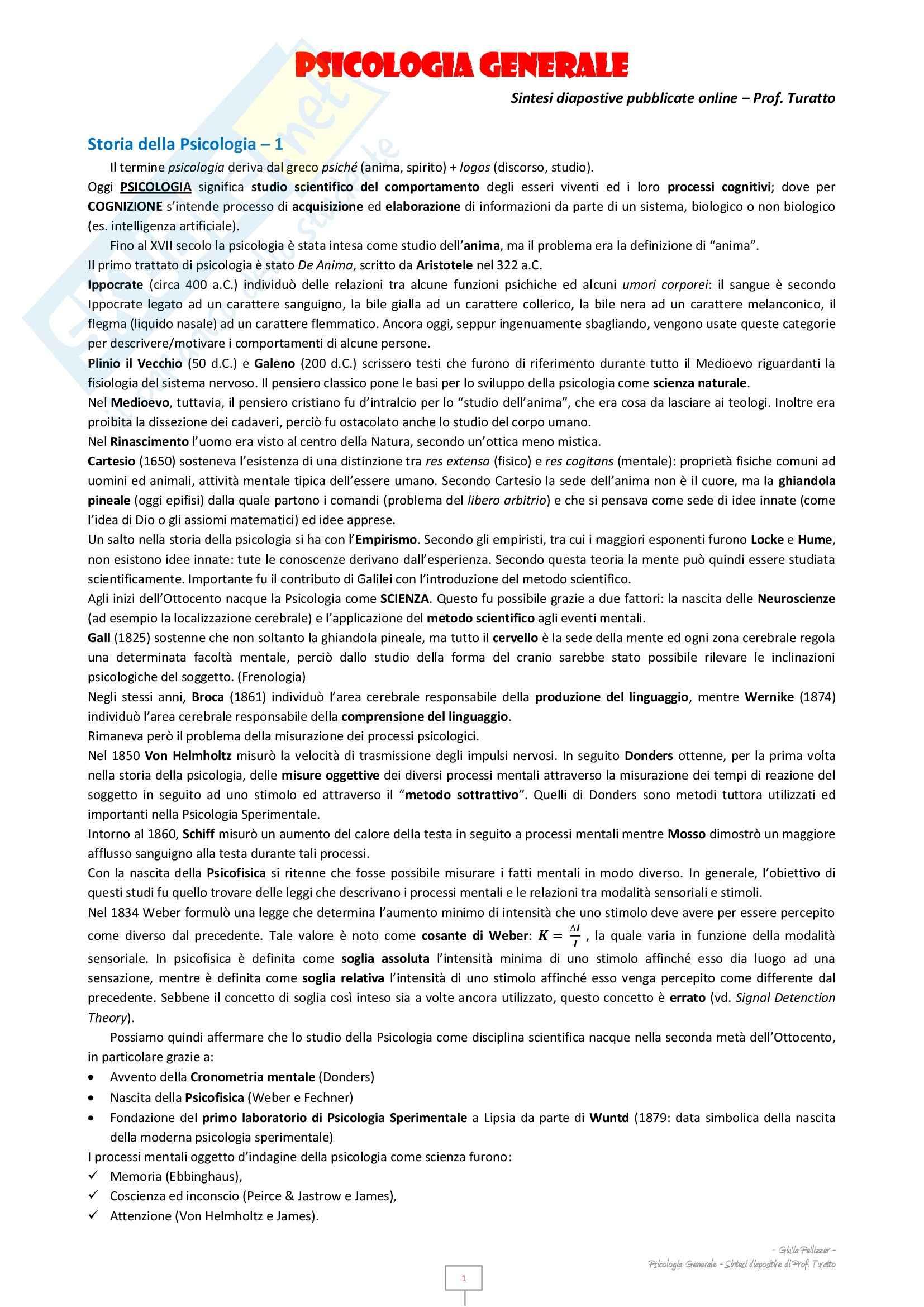 Psicologia generale - Appunti