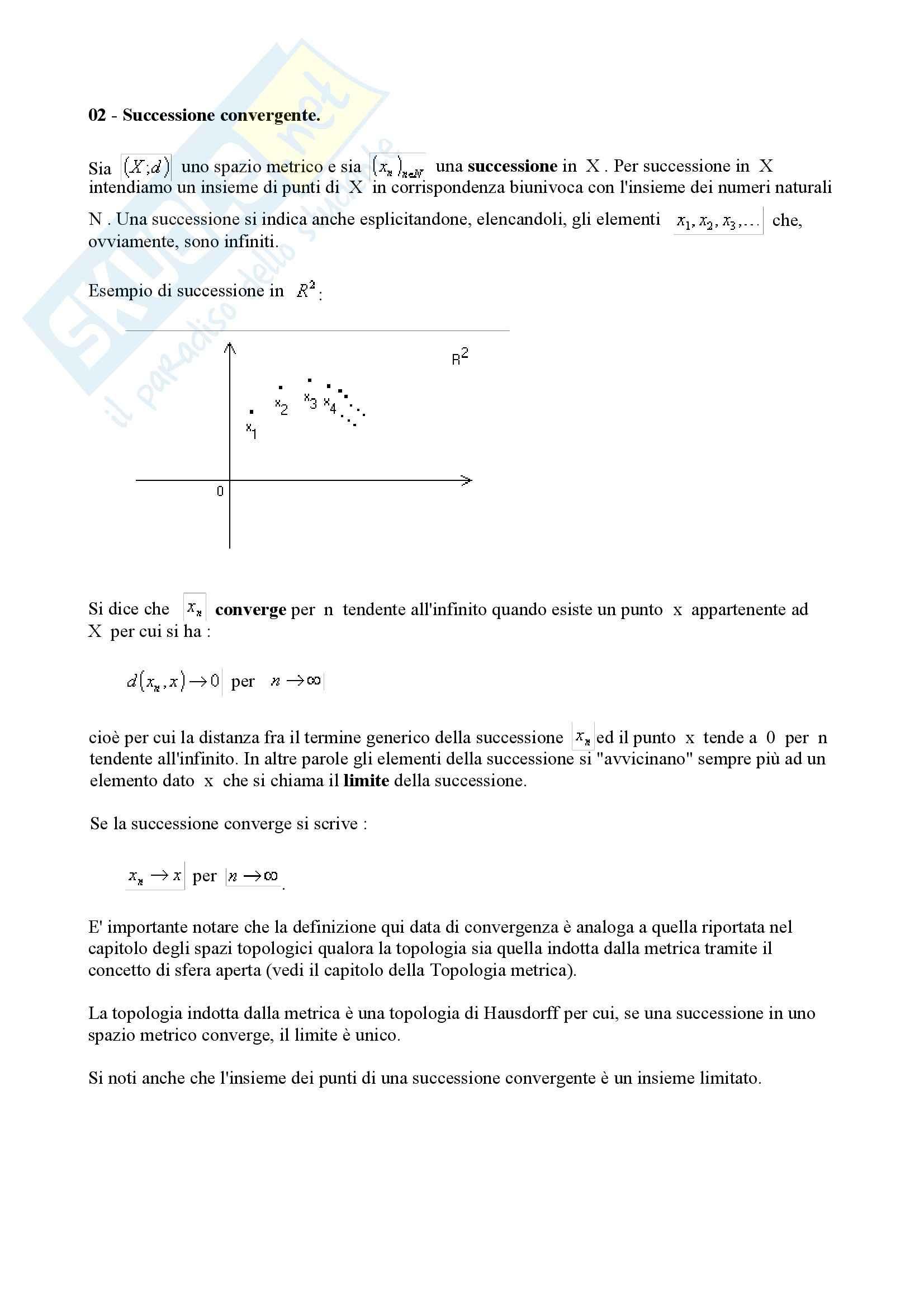 Matematica per le applicazioni II – Topologia quinta parte Pag. 2