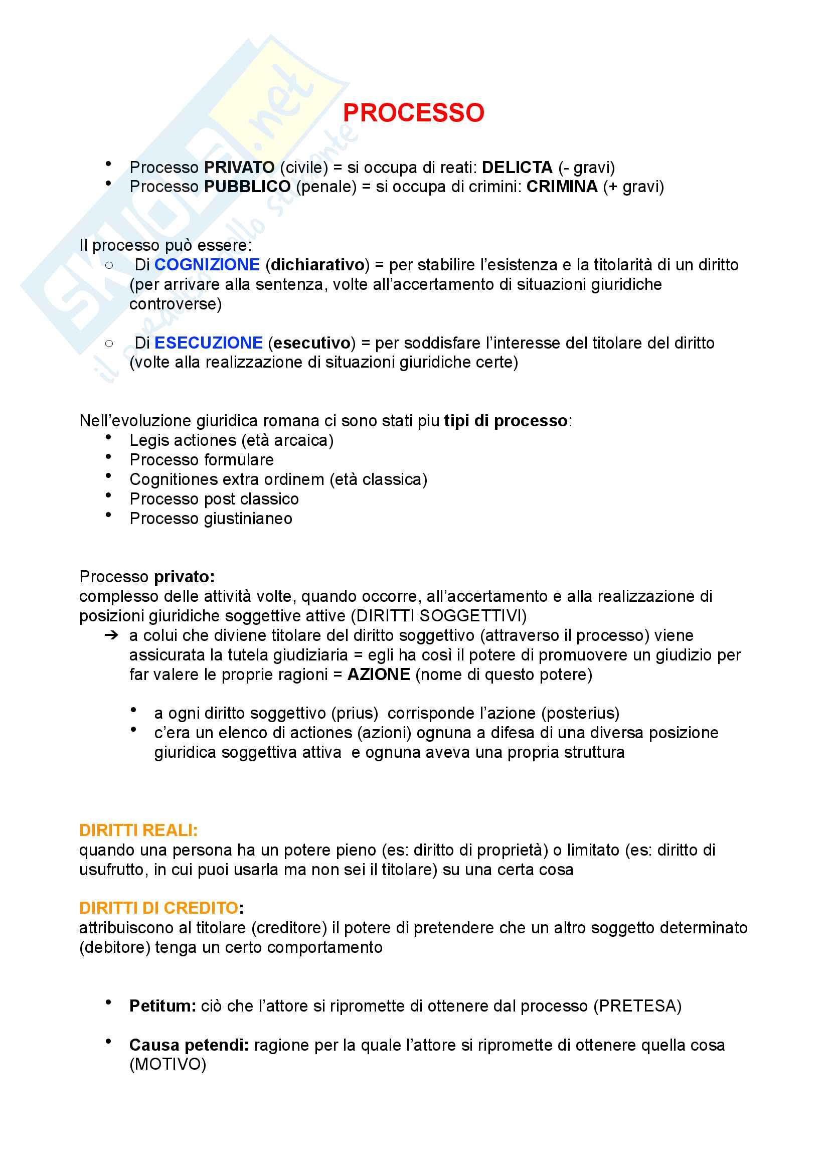 Processo diritto romano (legis actiones e formulare)