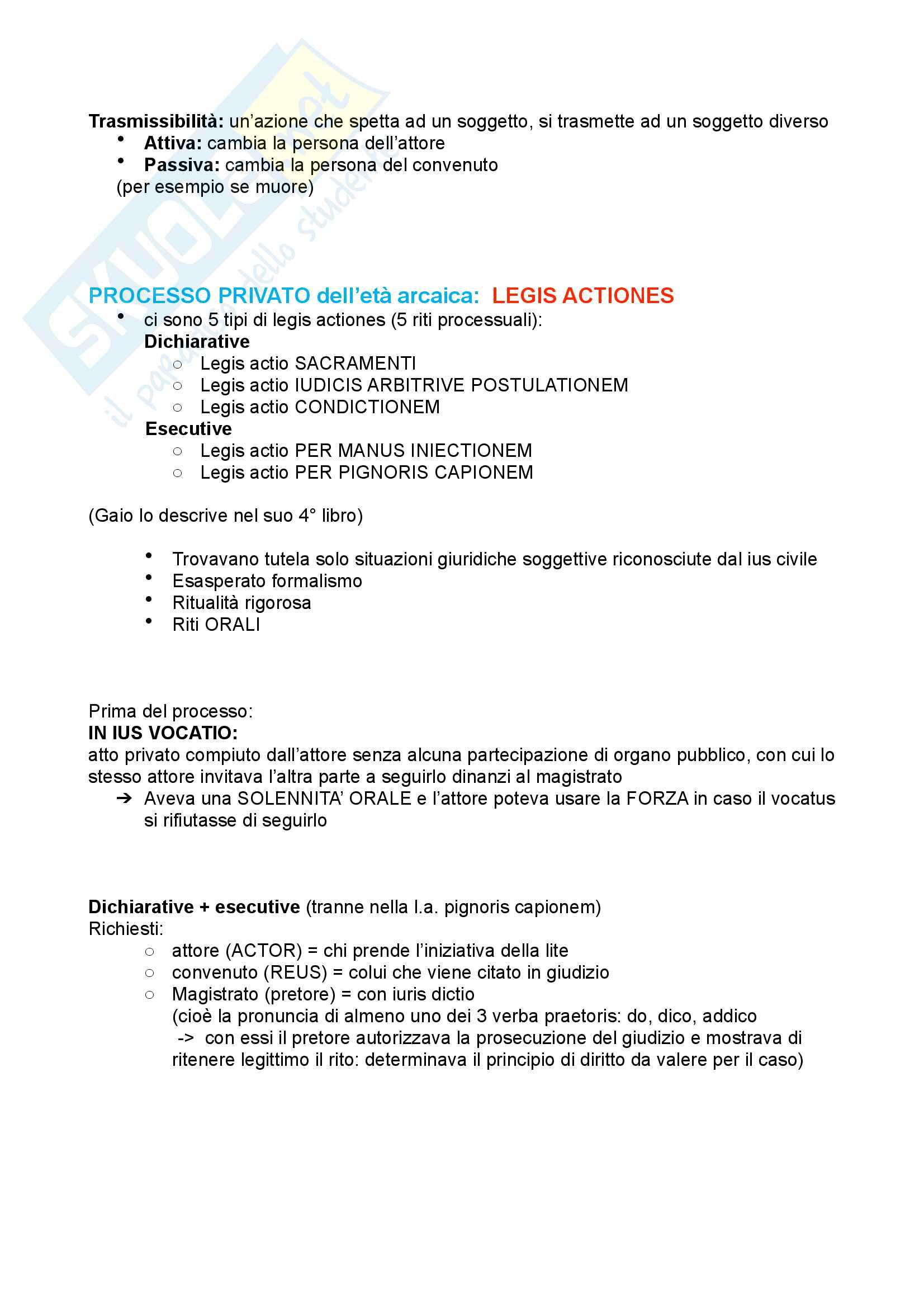 Processo diritto romano (legis actiones e formulare) Pag. 2