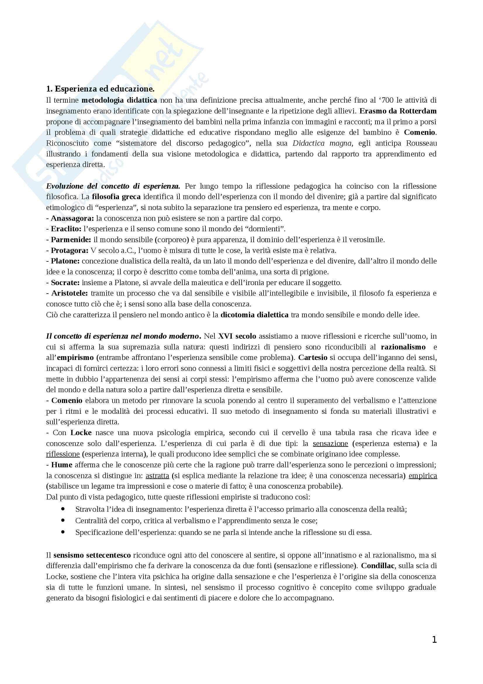 Riassunto esame Didattica generale, prof. Zuccoli, libro consigliato Esperienza e didattica, Nigris, Negri, Zuccoli