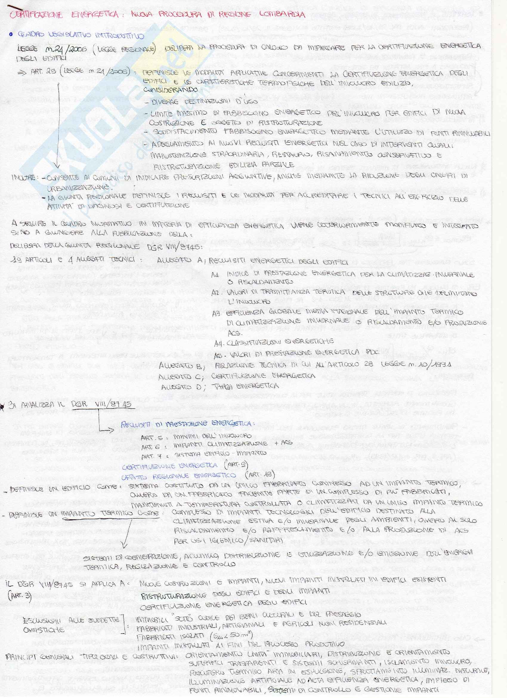 Lezioni: Appunti di Impianti tecnici