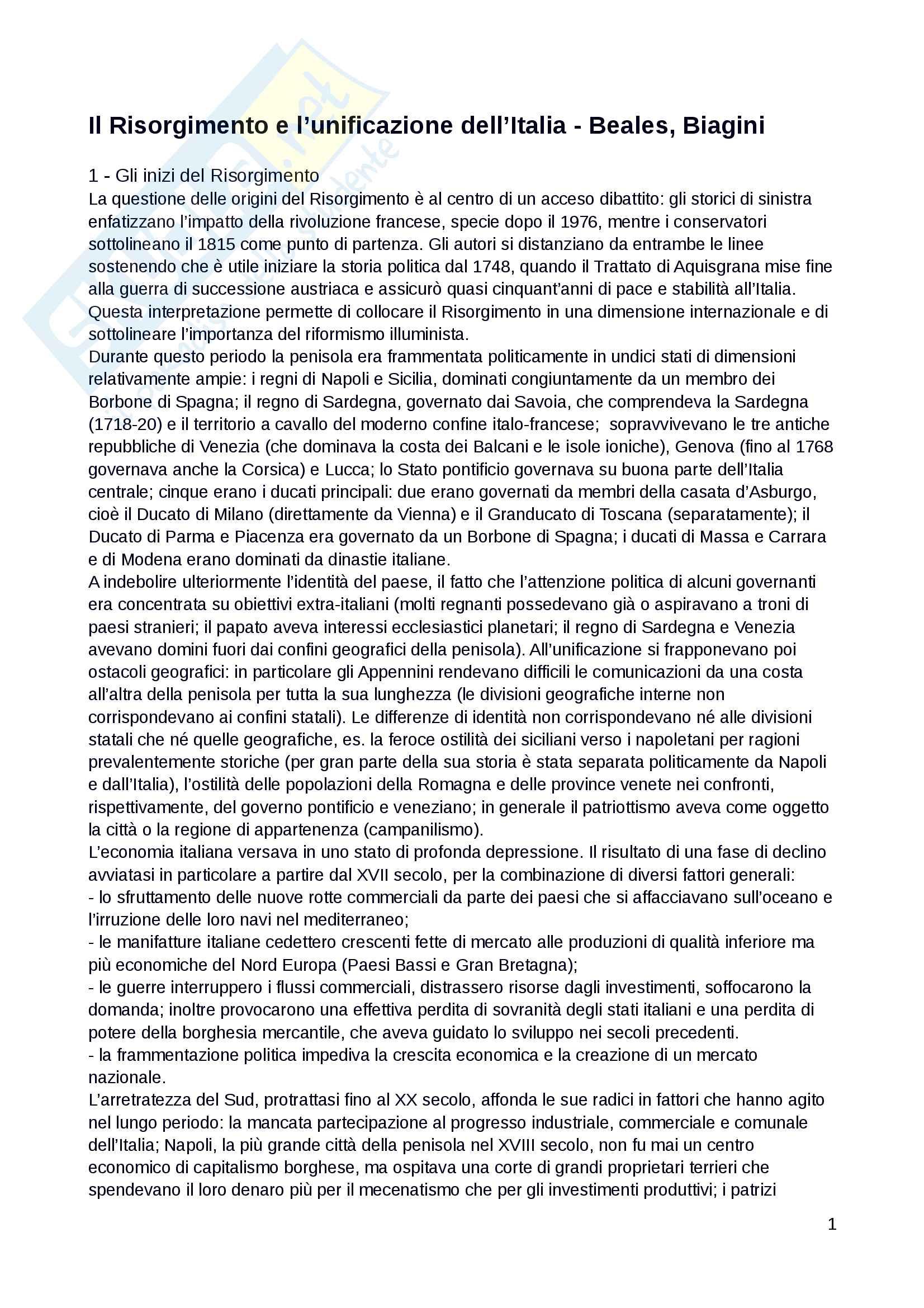 """Riassunto esame dell'esame di Storia del Risorgimento, docente Falco, libro consigliato: """"Il Risorgimento e l'unificazione dell'Italia"""", Beales, Biagini"""