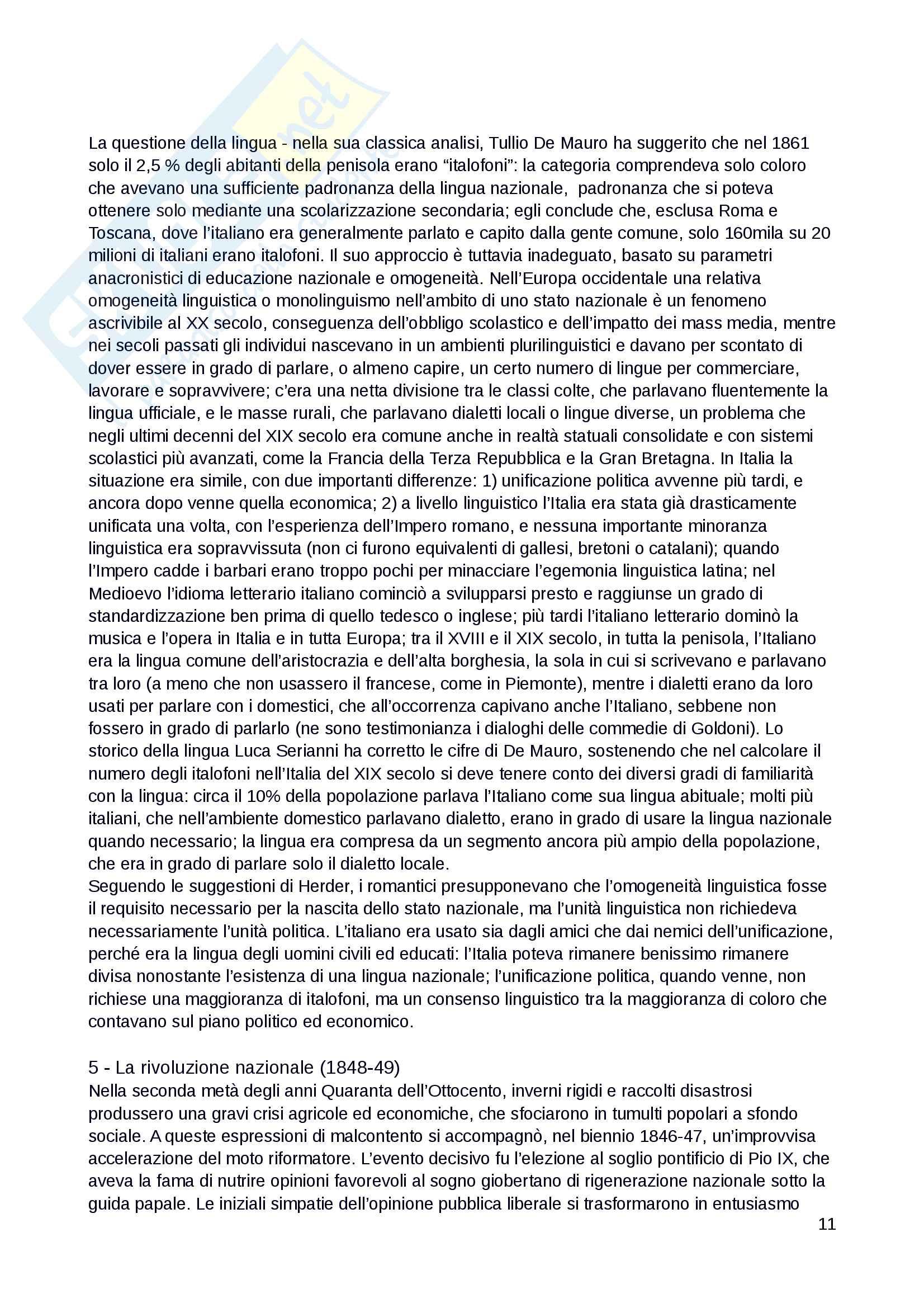 """Riassunto esame dell'esame di Storia del Risorgimento, docente Falco, libro consigliato: """"Il Risorgimento e l'unificazione dell'Italia"""", Beales, Biagini Pag. 11"""