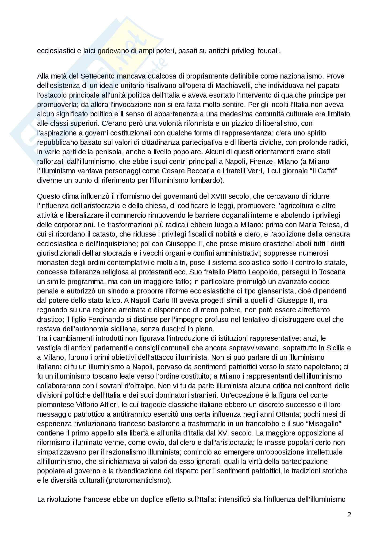 """Riassunto esame dell'esame di Storia del Risorgimento, docente Falco, libro consigliato: """"Il Risorgimento e l'unificazione dell'Italia"""", Beales, Biagini Pag. 2"""