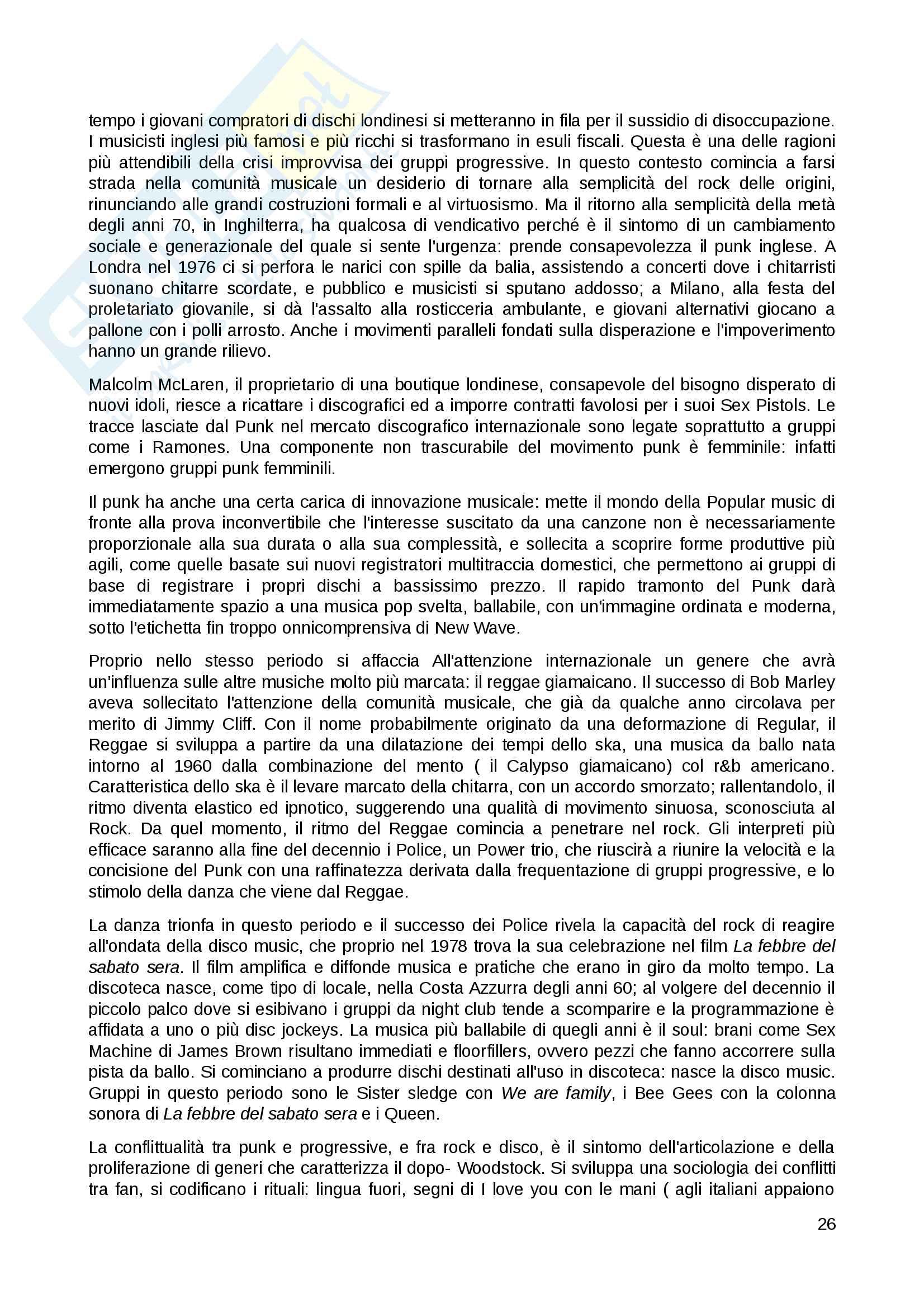 Riassunto esame popular music, prof. Tomatis, libro consigliato Around the clock, Fabbri Pag. 26