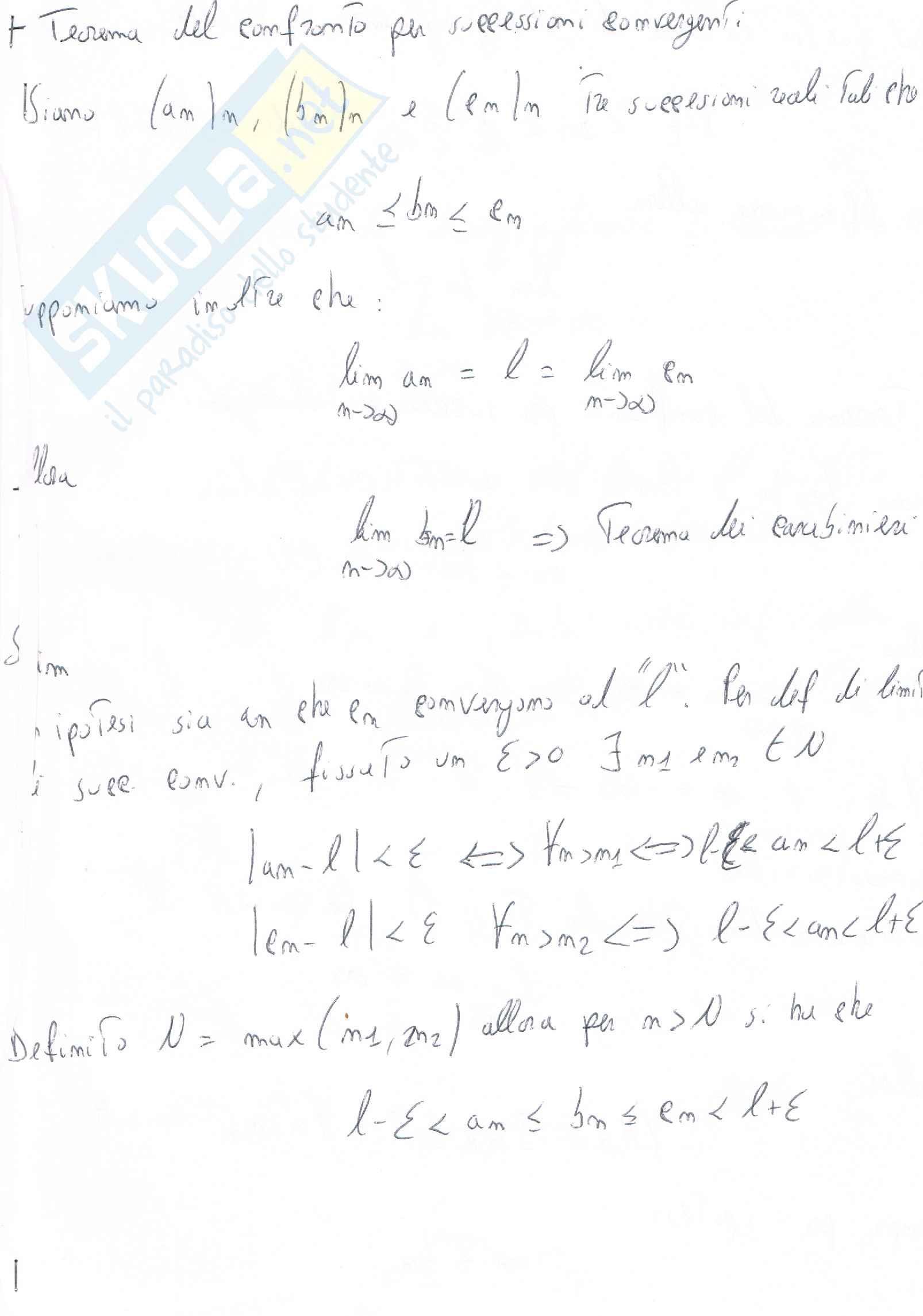 Teorema del confronto per successioni convergenti e divergenti e Teorema di Bolzano Weierstrass