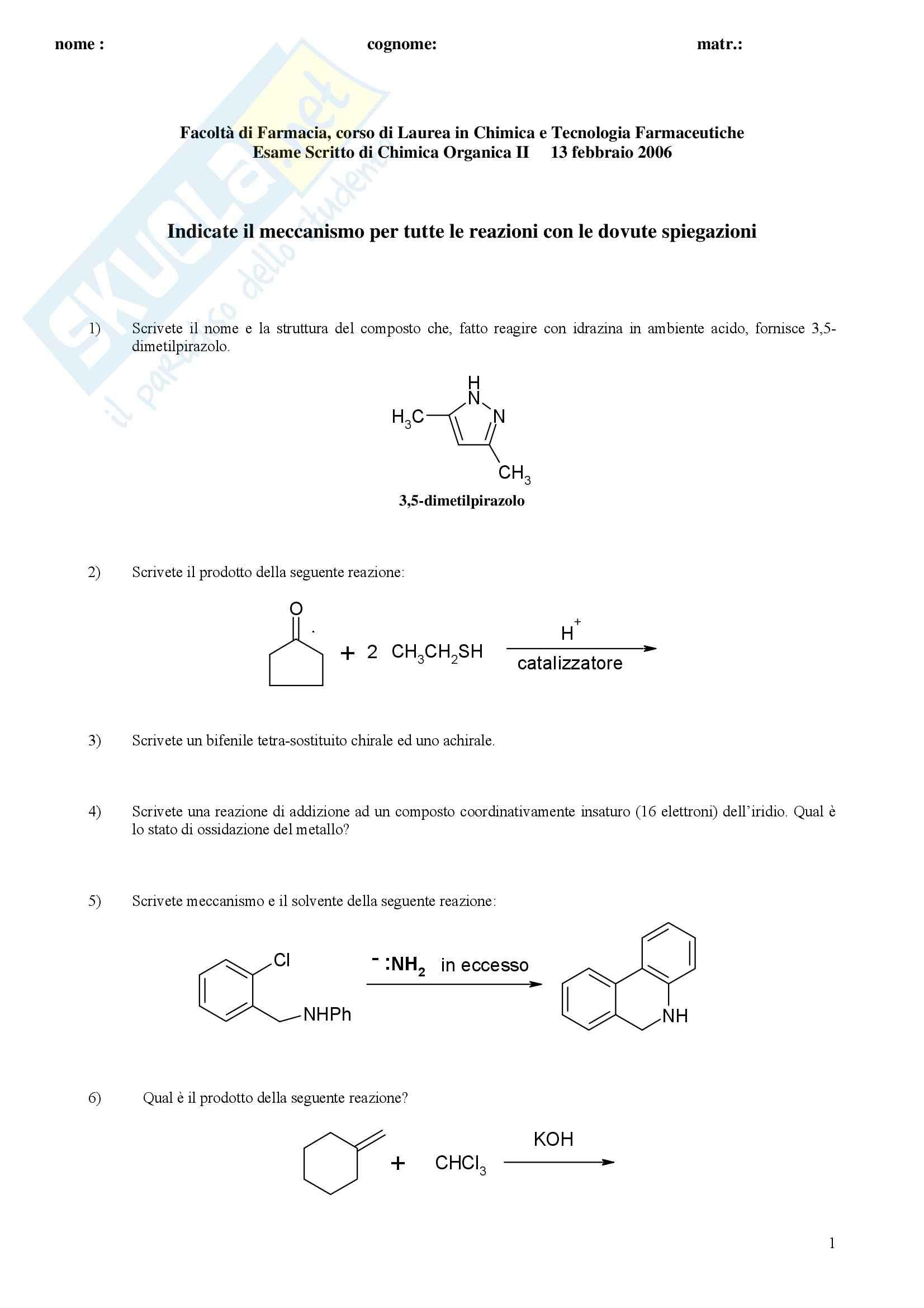 Chimica organica II - Esercizi