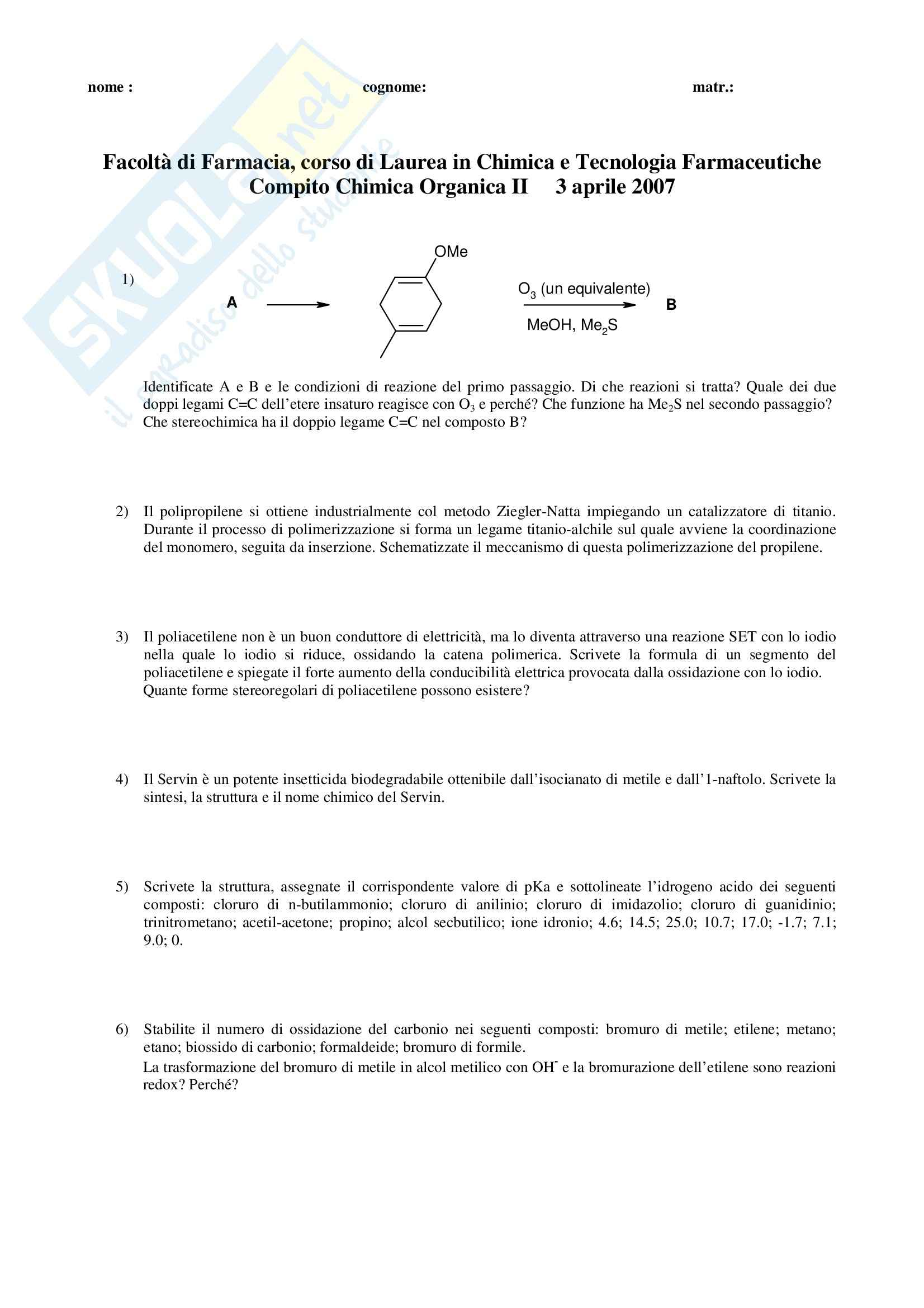 Chimica organica II - Esercizi Pag. 11