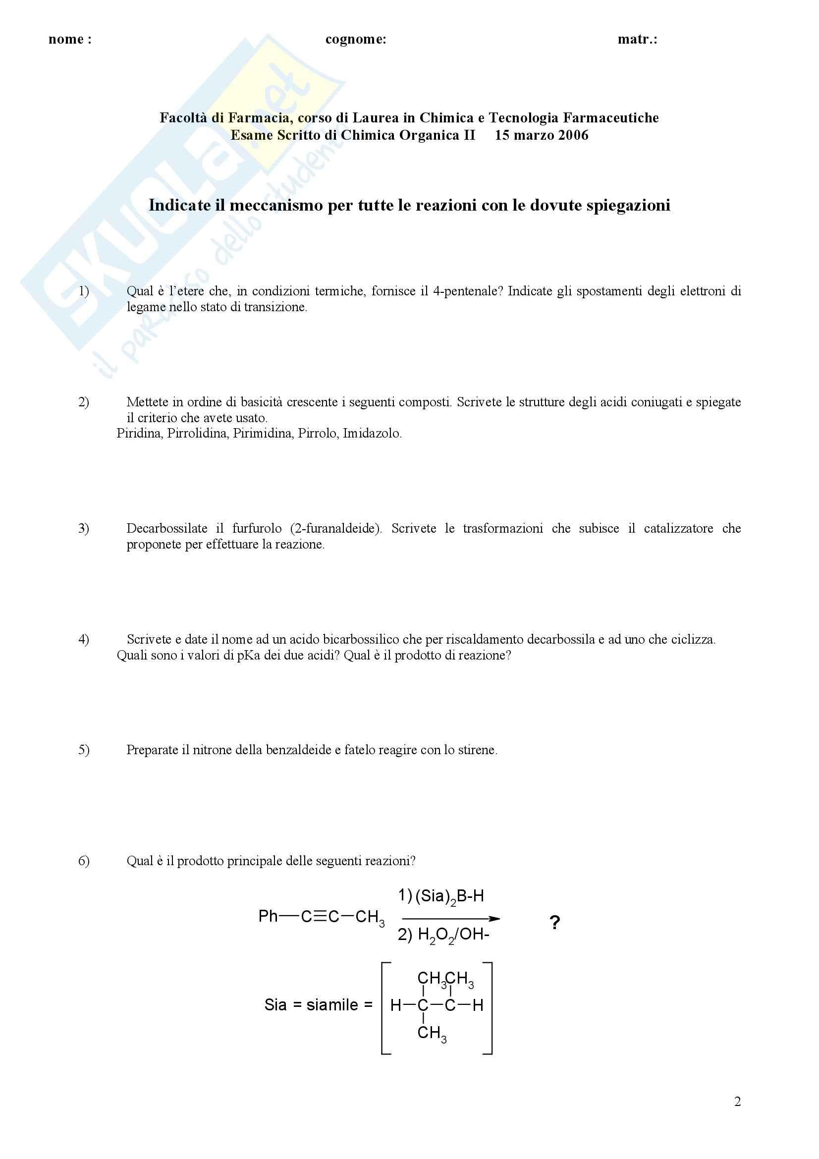 Chimica organica II - Esercizi Pag. 2