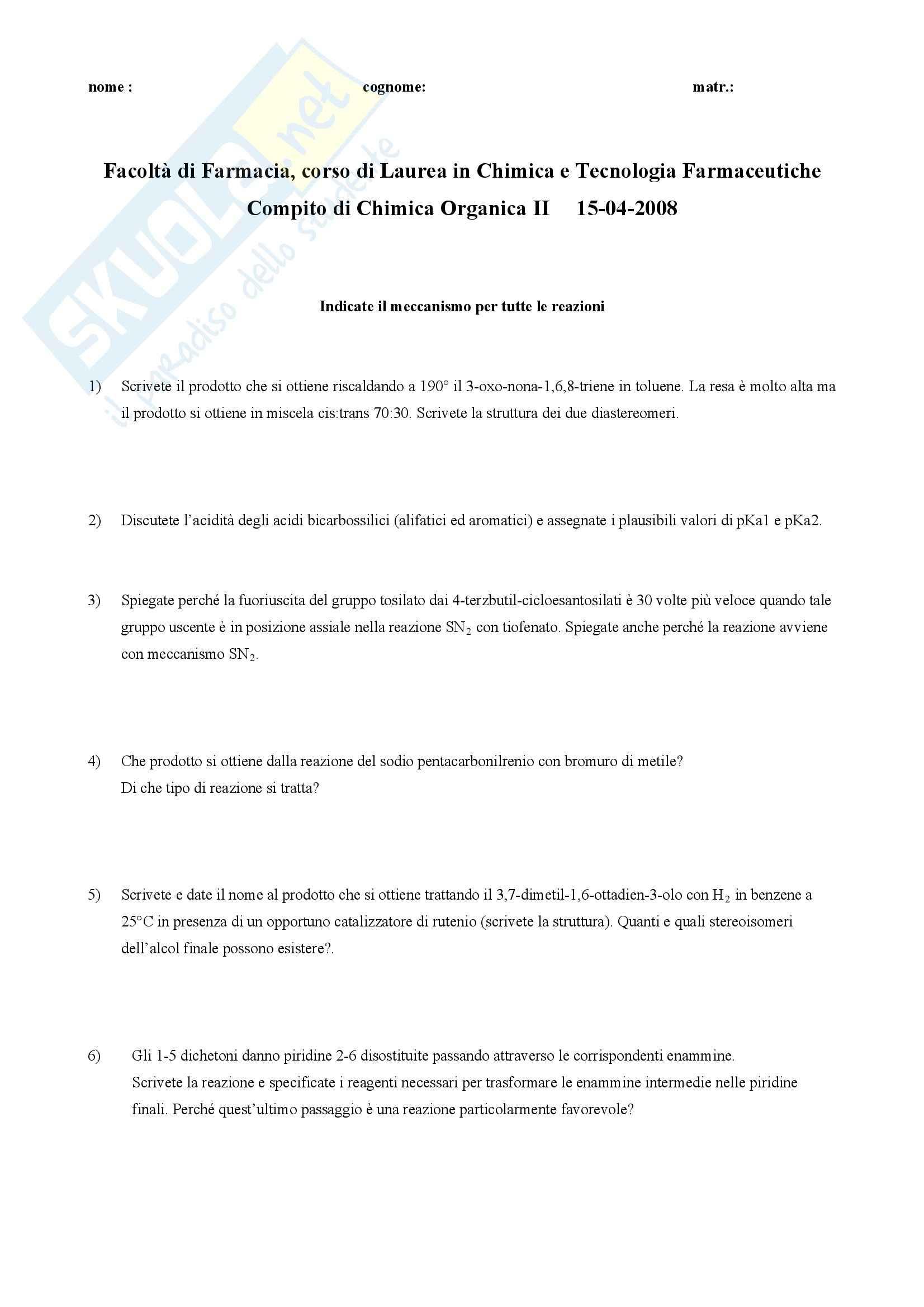 Chimica organica II - Esercizi Pag. 21
