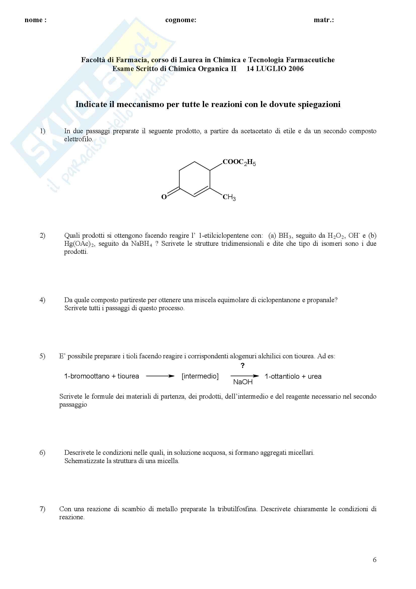 Chimica organica II - Esercizi Pag. 6