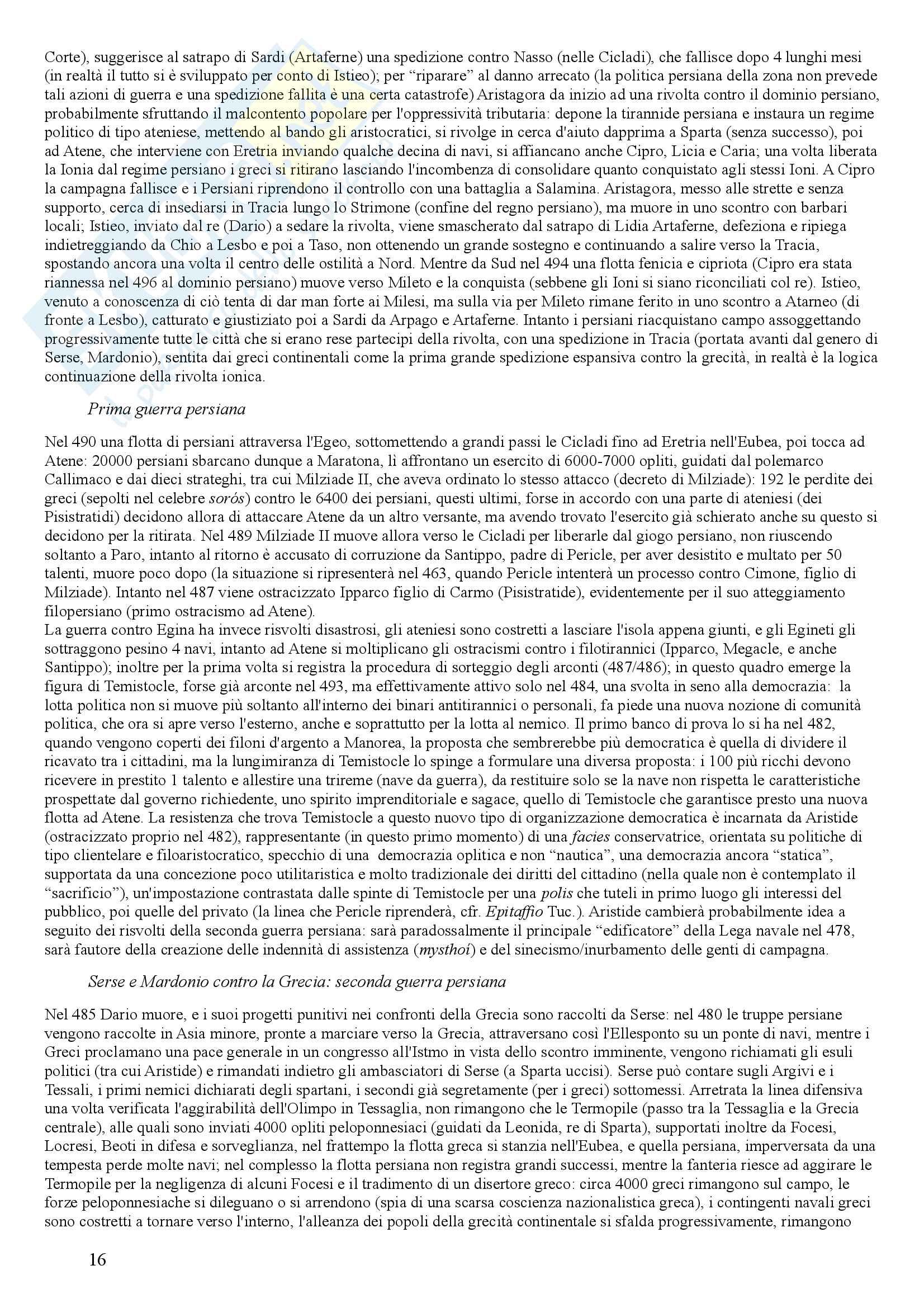 """Riassunto esame Storia greca, docente U. Bultrighini, testo consigliato Domenico Musti -""""Linee di sviluppo dall'età micenea all'età romana"""" Pag. 16"""