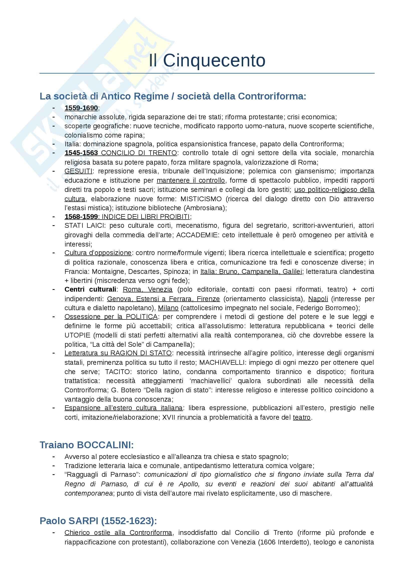 Letteratura italiana II - il Cinquecento