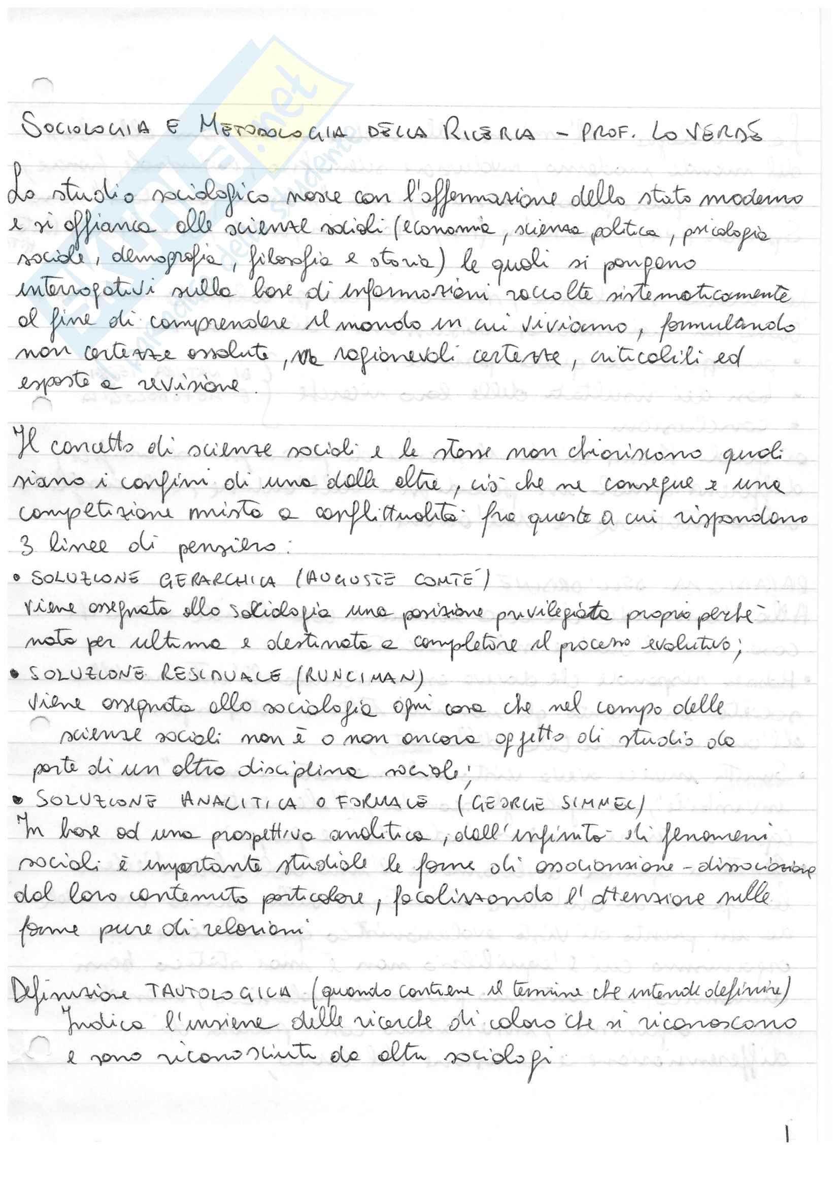 Appunti di Sociologia e Metodologia della Ricerca - prof. Lo Verde