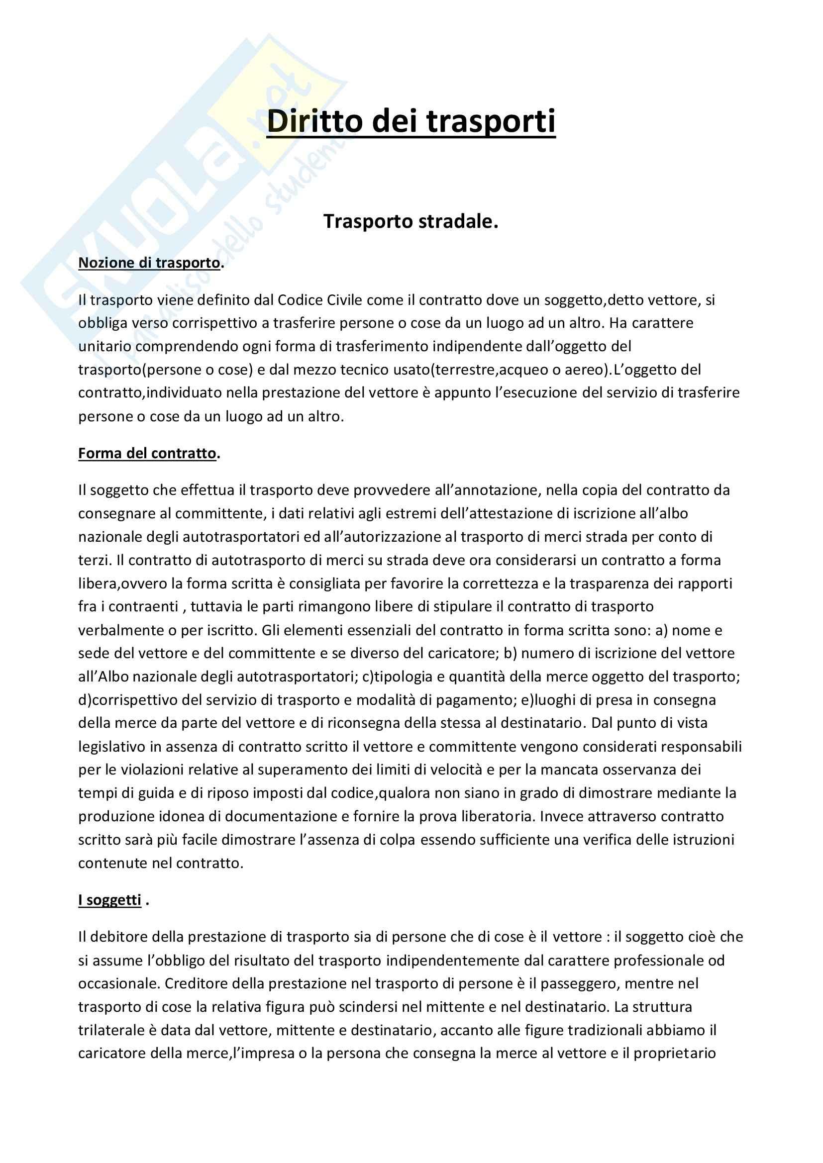 Diritto dei trasporti - Appunti