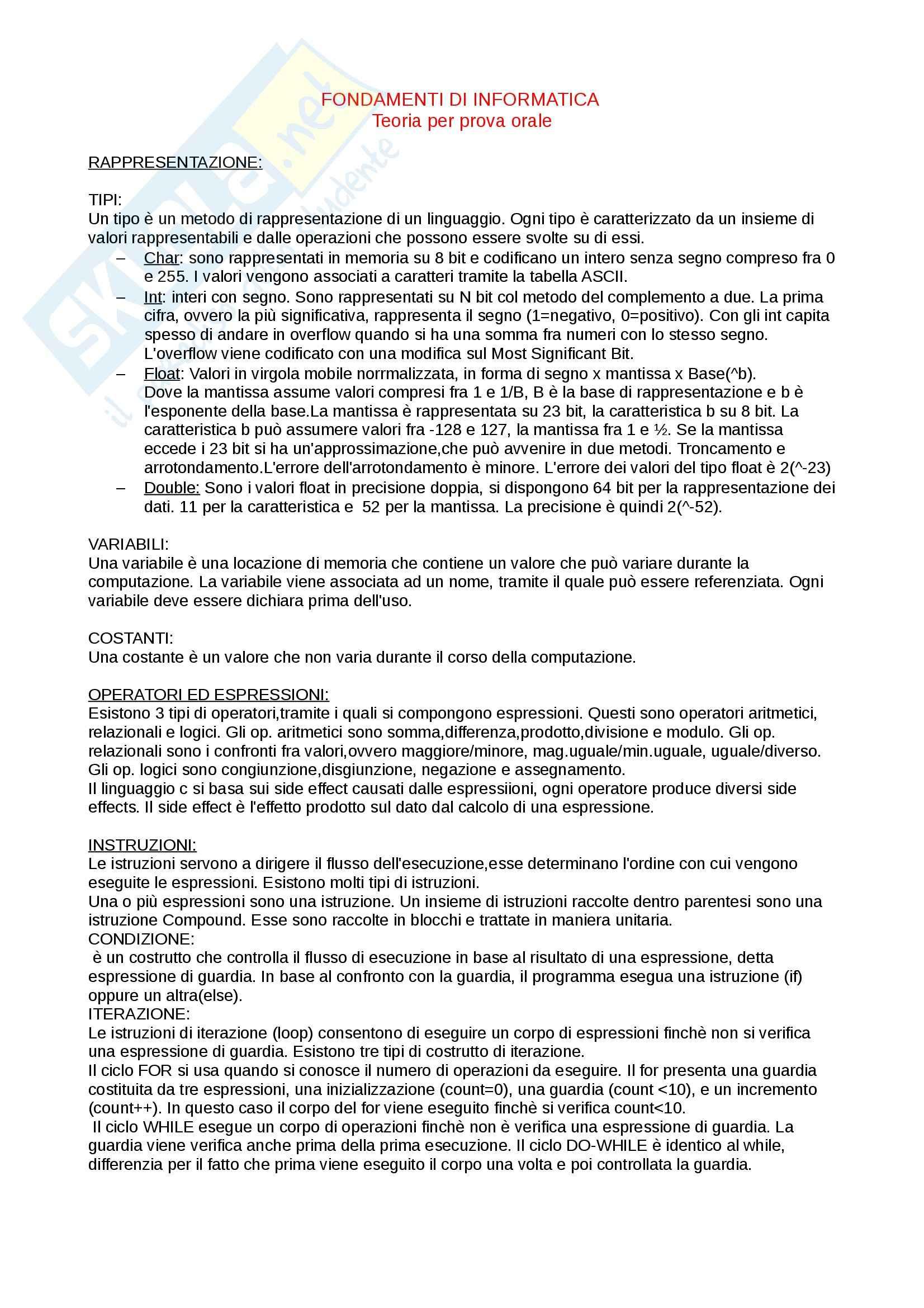 Riassunto esame Informatica, prof. Carnevali, libro consigliato Fondamenti di Programmazione, Vicario: teoria