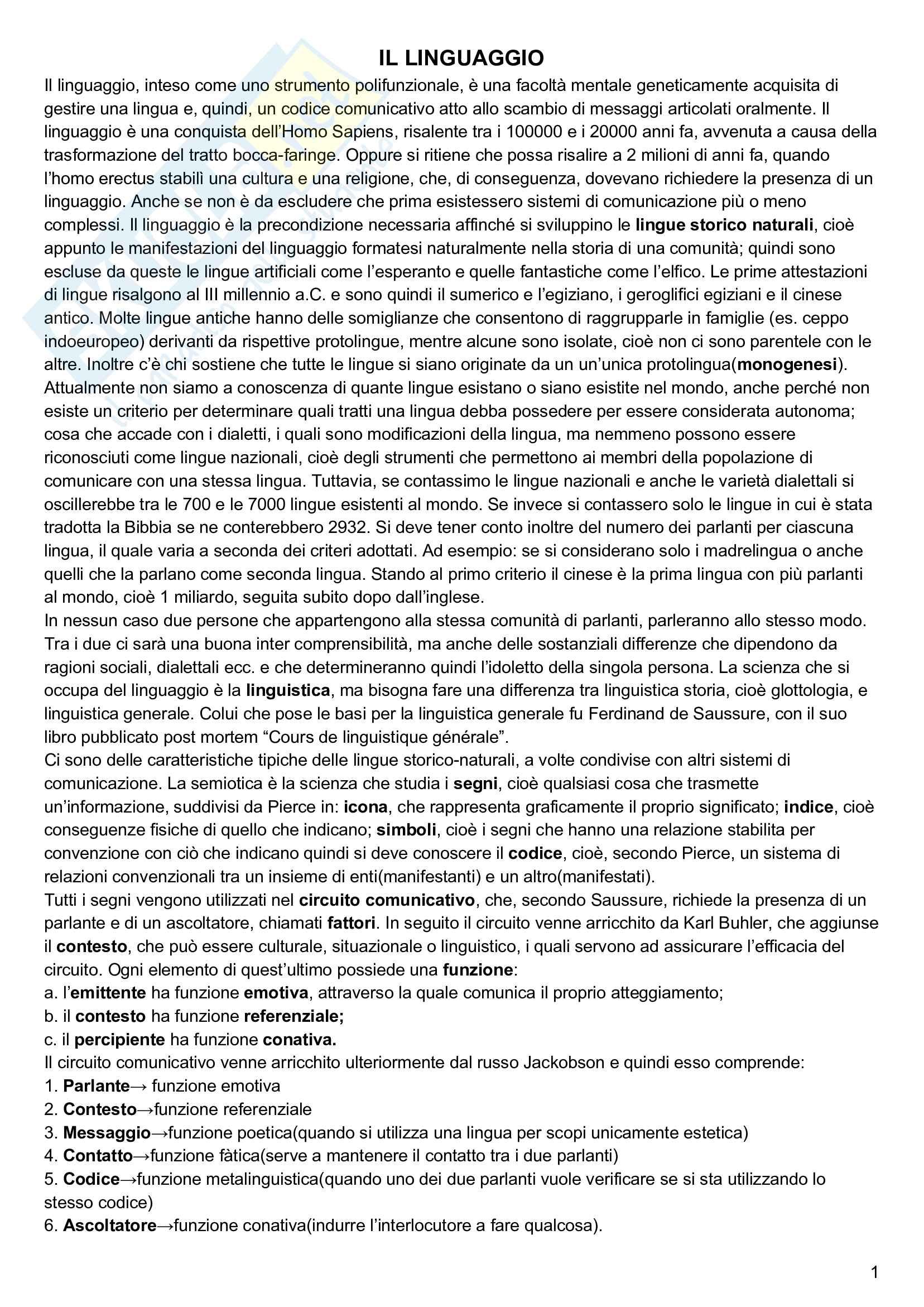 Riassunto esame linguistica generale, prof. Keidan, libro consigliato Linguistica generale e storica, volume 1, Keidan e Ciancaglini