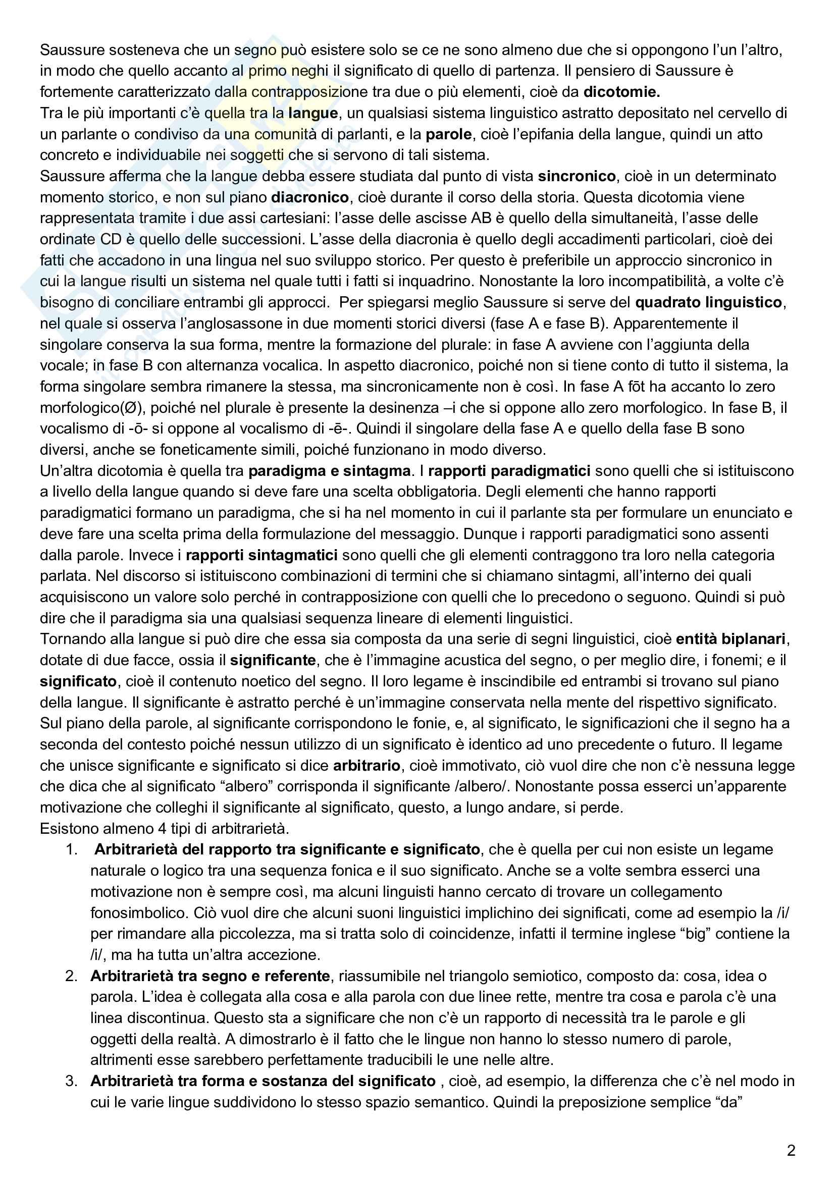 Riassunto esame linguistica generale, prof. Keidan, libro consigliato Linguistica generale e storica, volume 1, Keidan e Ciancaglini Pag. 2