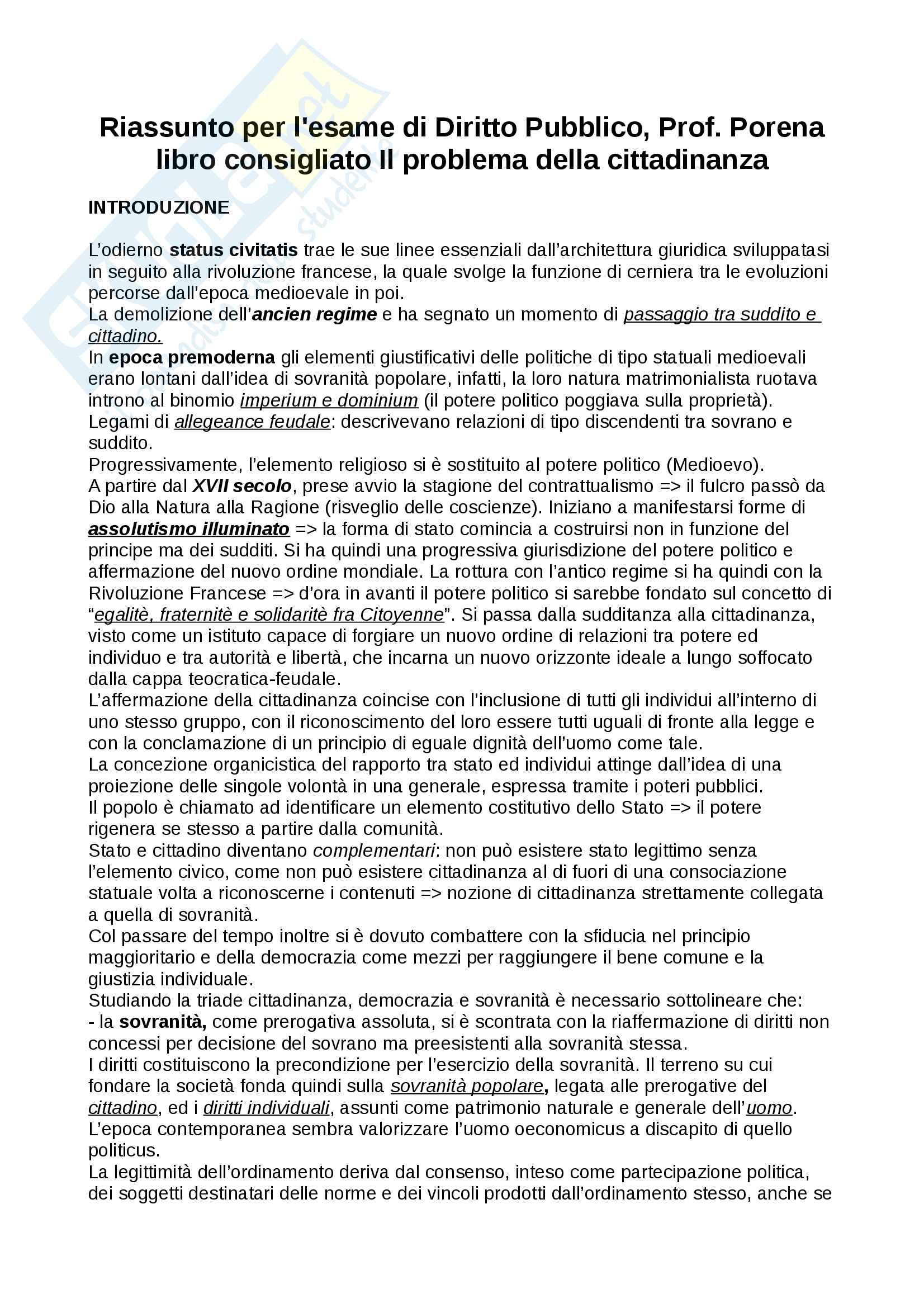 Riassunto per l'esame di istituzioni di Diritto Pubblico, Prof. Porena, libro consigliato Il problema della cittadinanza