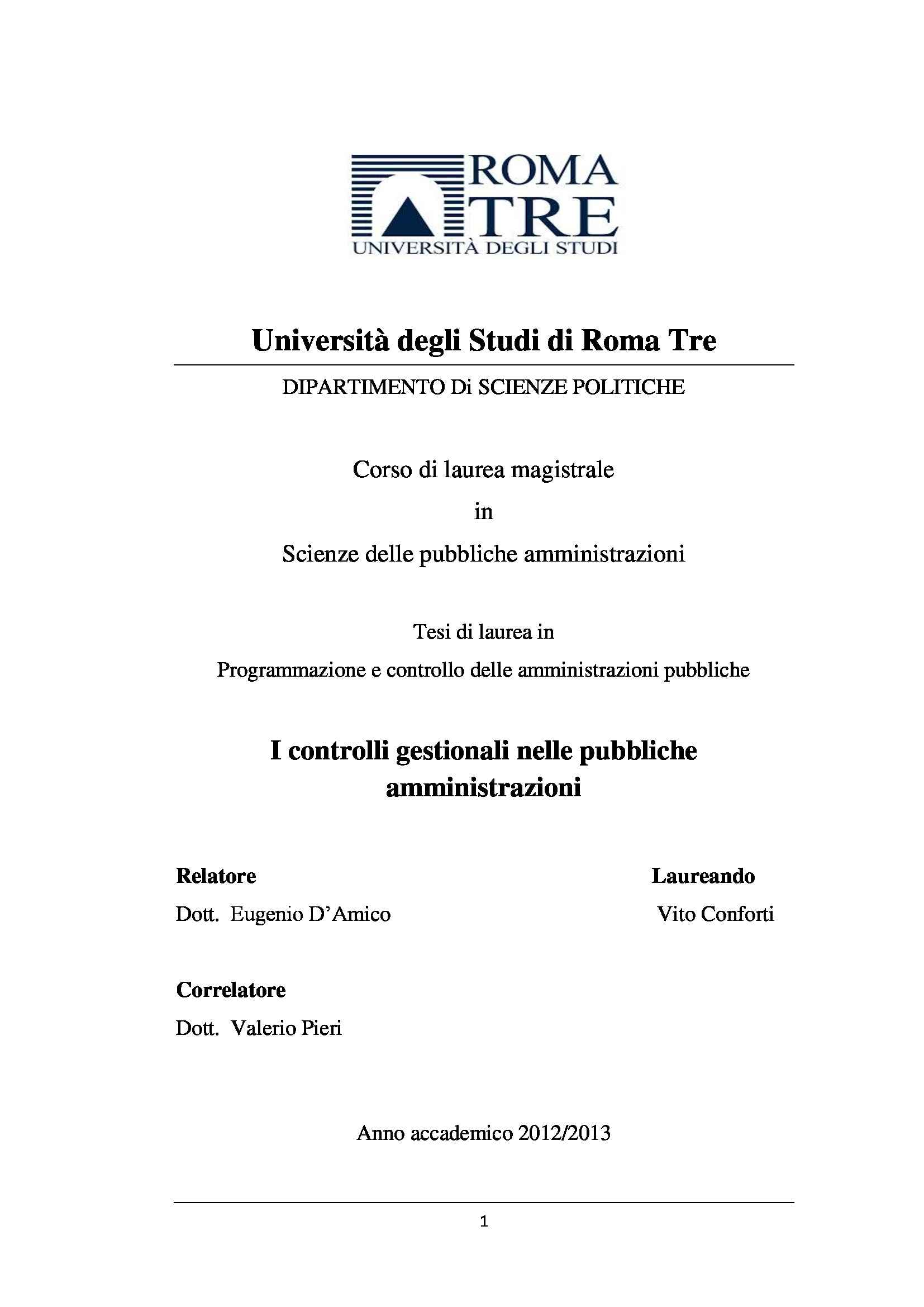 tesi E. D'Amico Programmazione e controllo delle pubbliche amministrazioni