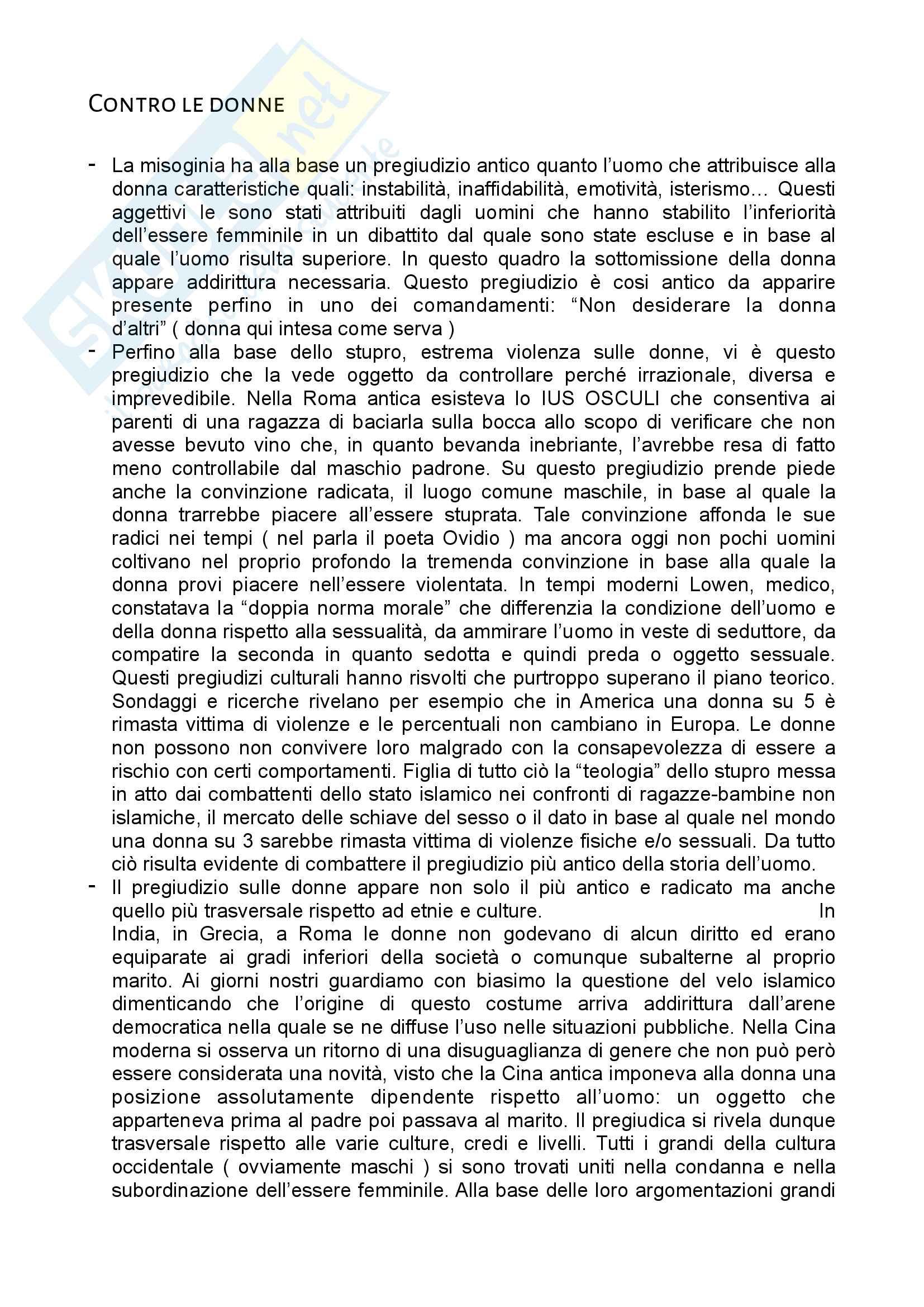 Riassunto esame Tecnologie Didattiche, prof. Ercolani, libro consigliato Contro le donne, Ercolani