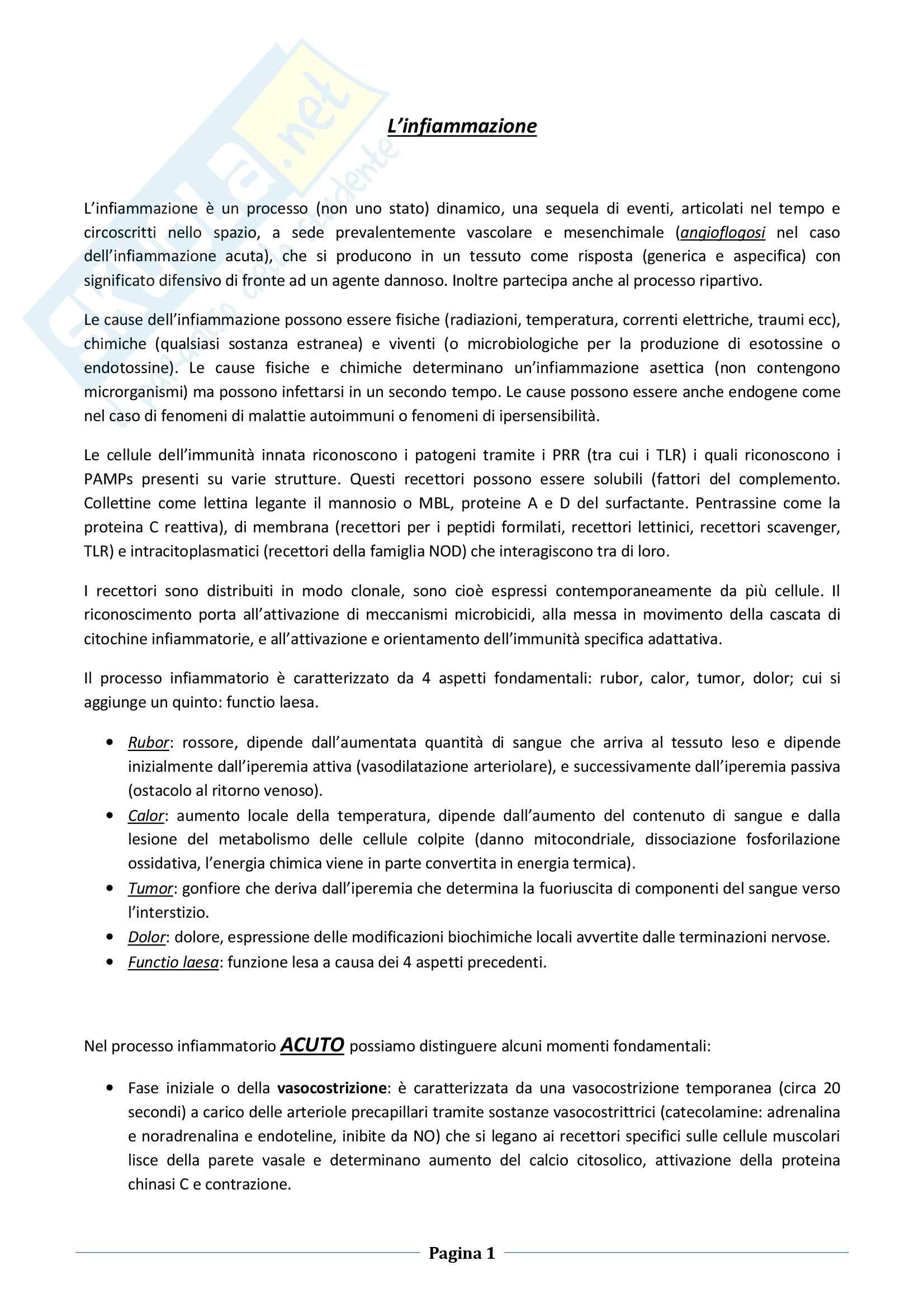 appunto A. Bartoli Patologia generale e fisiopatologia