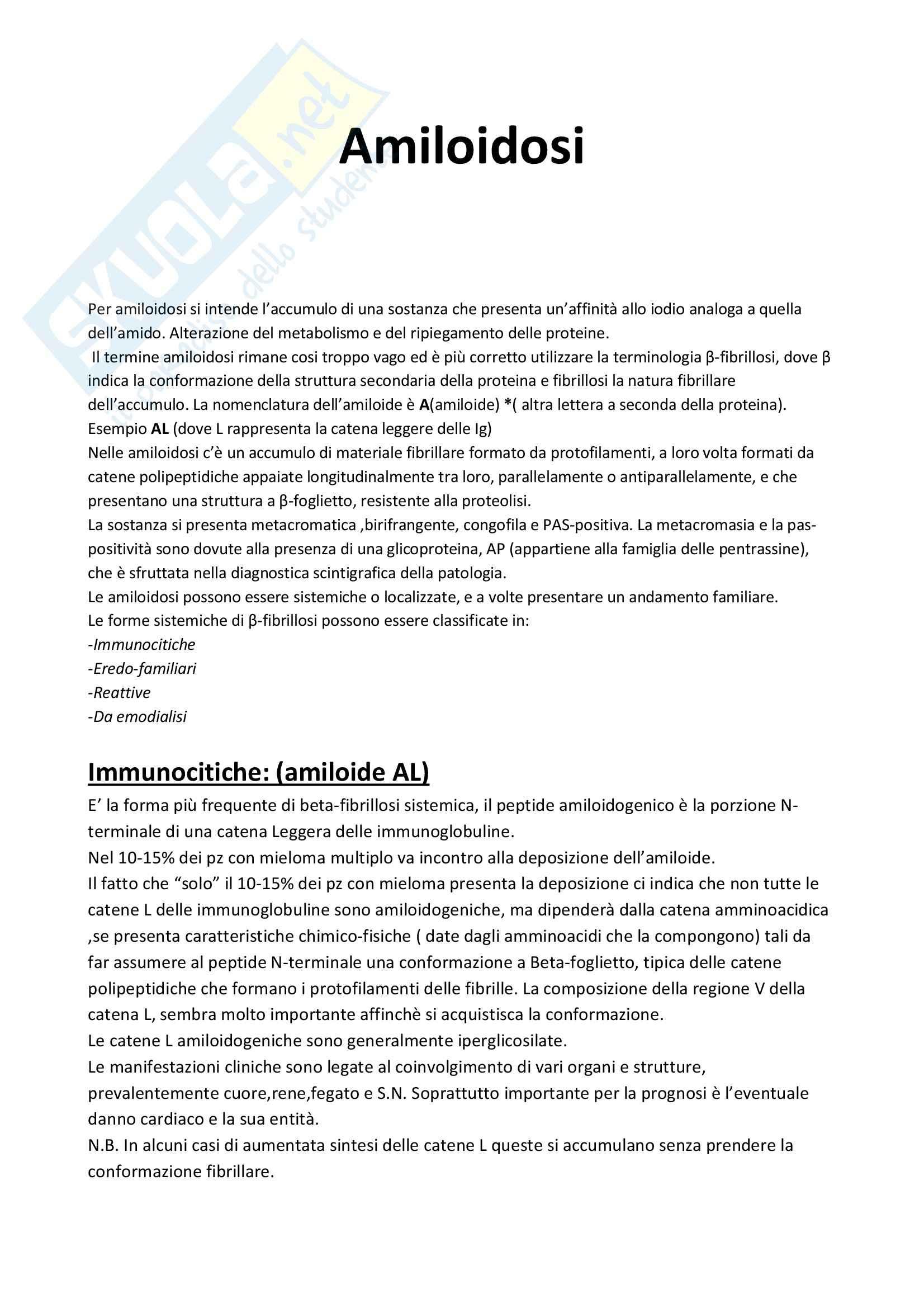 Patologia e fisiopatologia generale - amiloidosi e patologia del Folding proteico