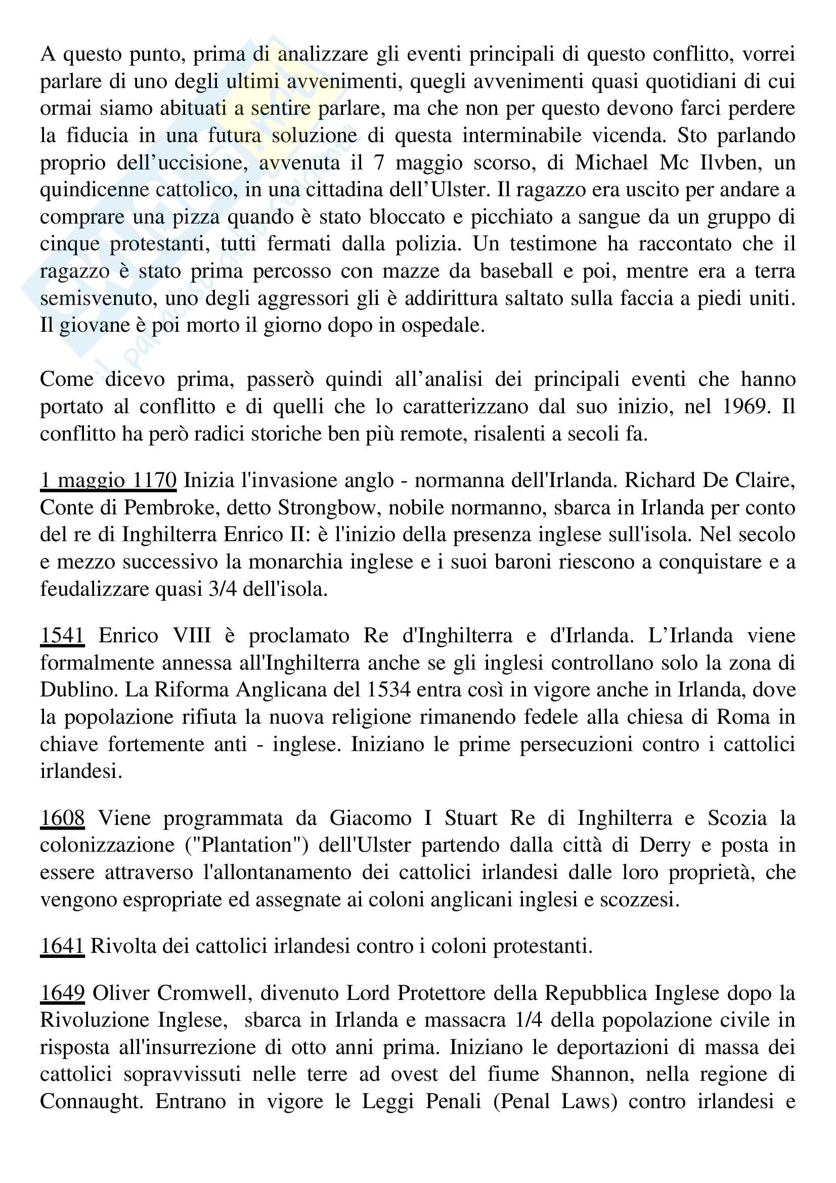 Tesi, Questione irlandese Pag. 2