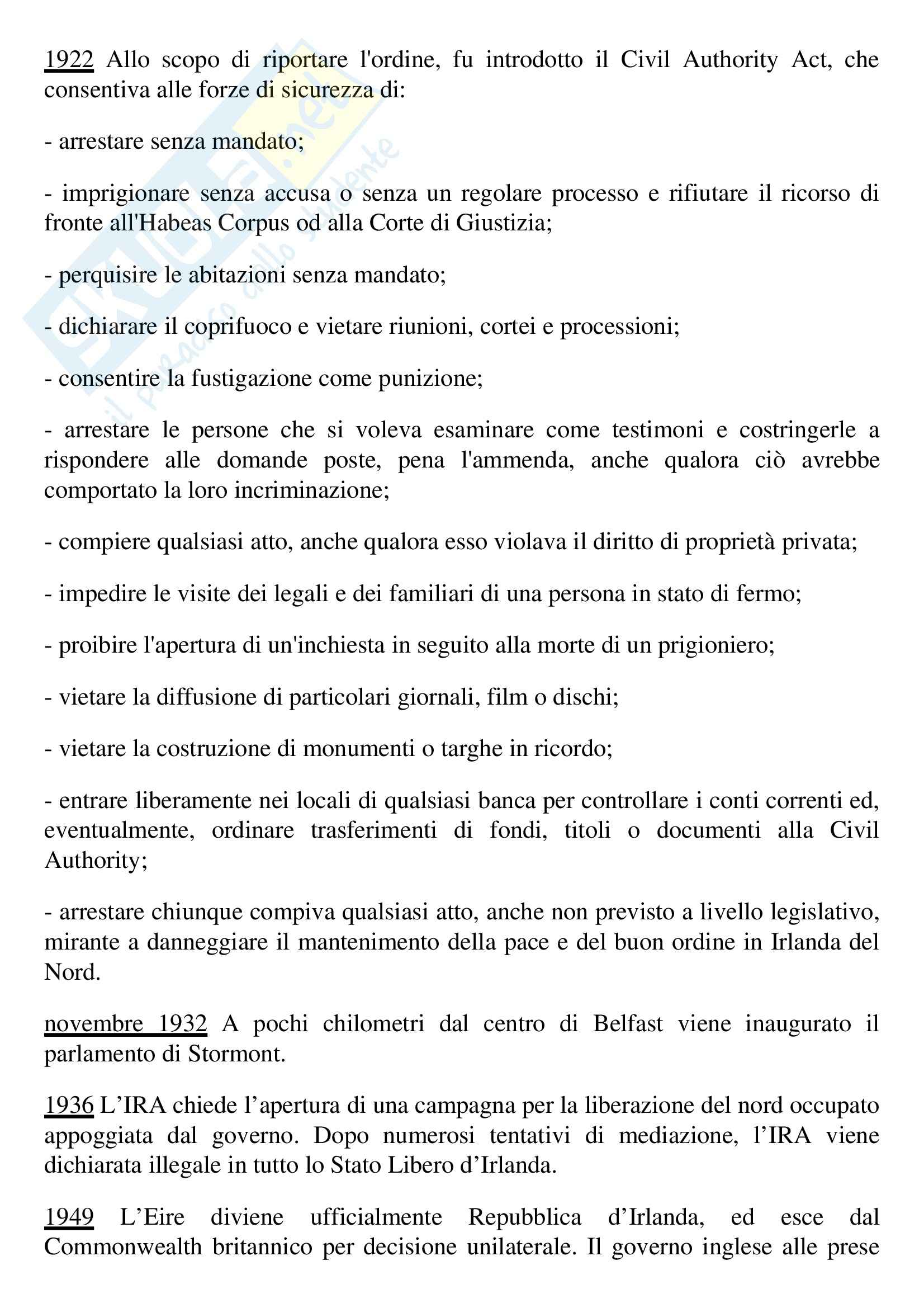 Tesi, Questione irlandese Pag. 6