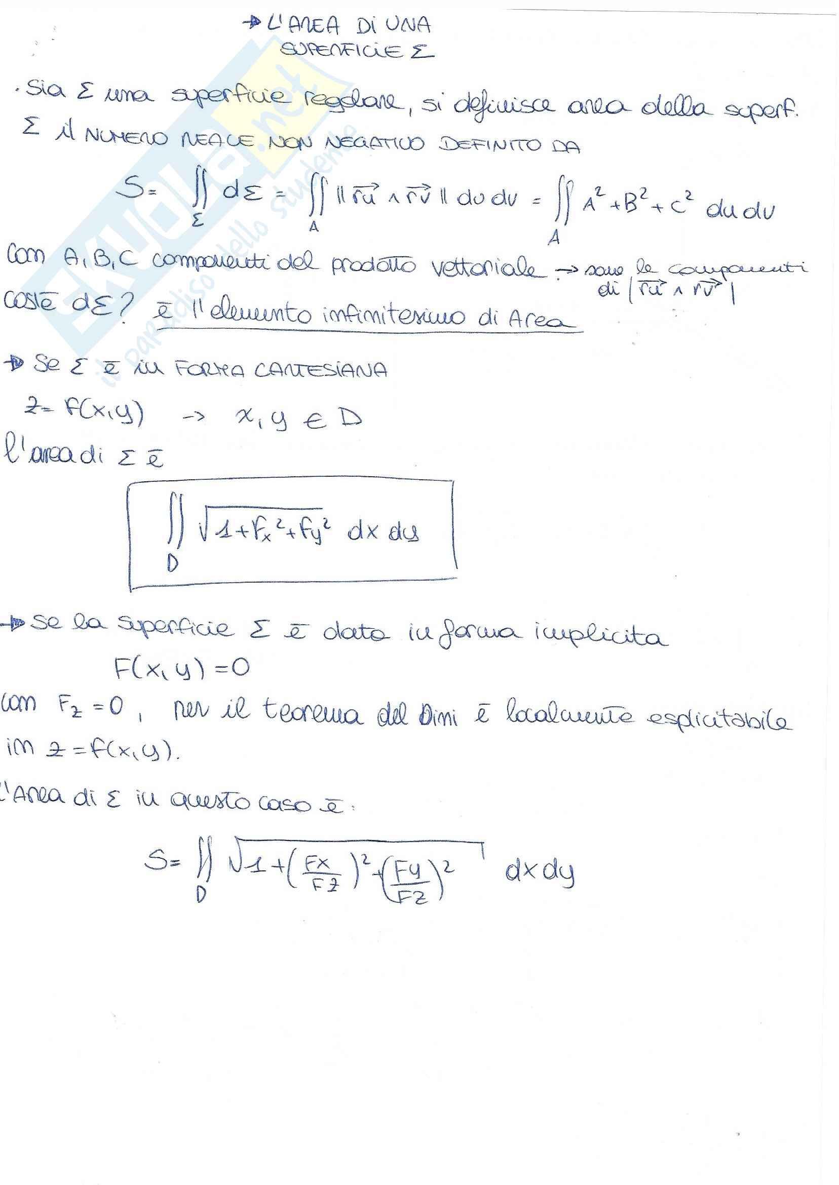 Appunti di teoria: forme differenziali, Gauss-Green, Stokes, Integrali curvilinei e superficiali Pag. 21