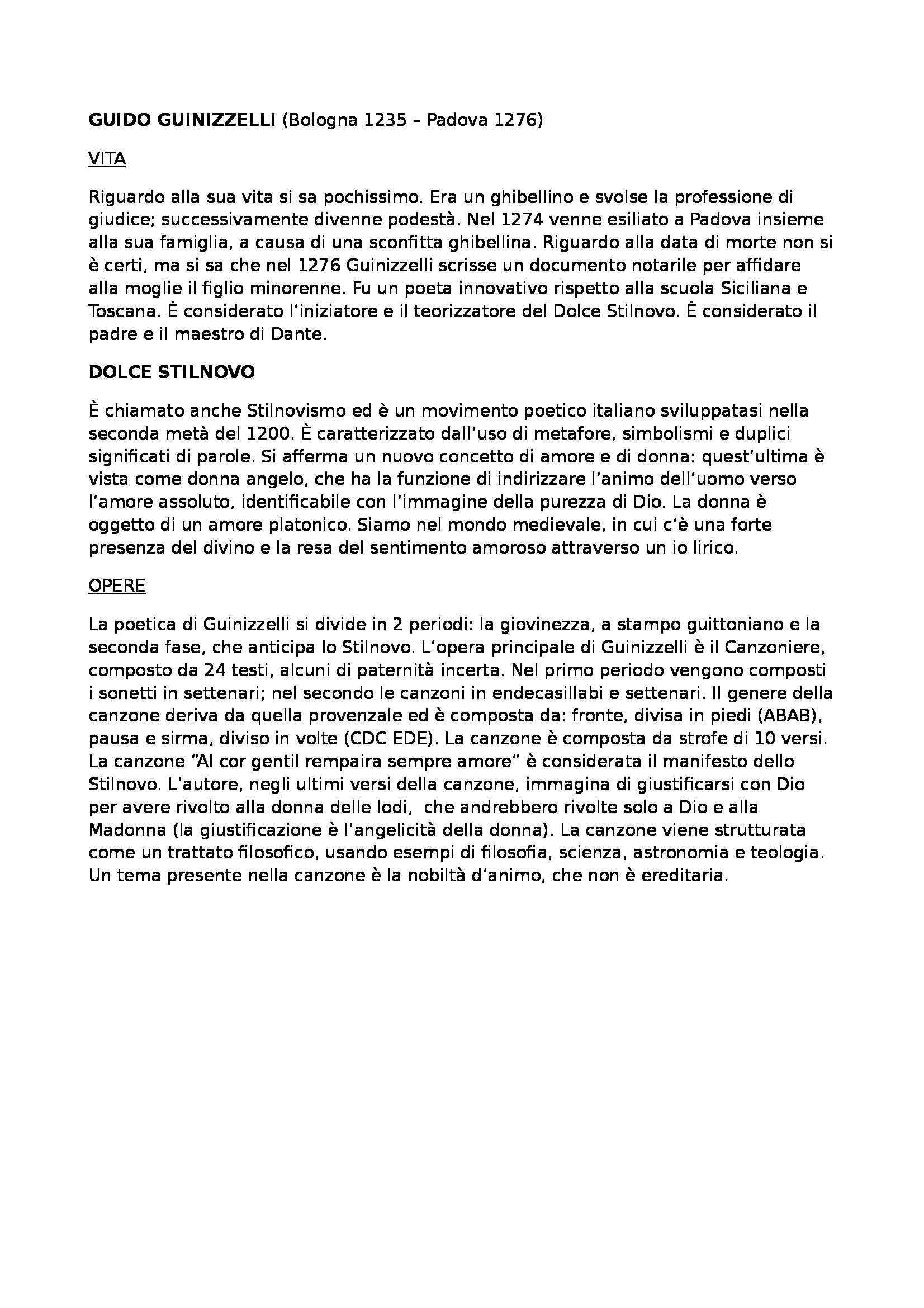 Letteratura italiana - Guido Guinizzelli