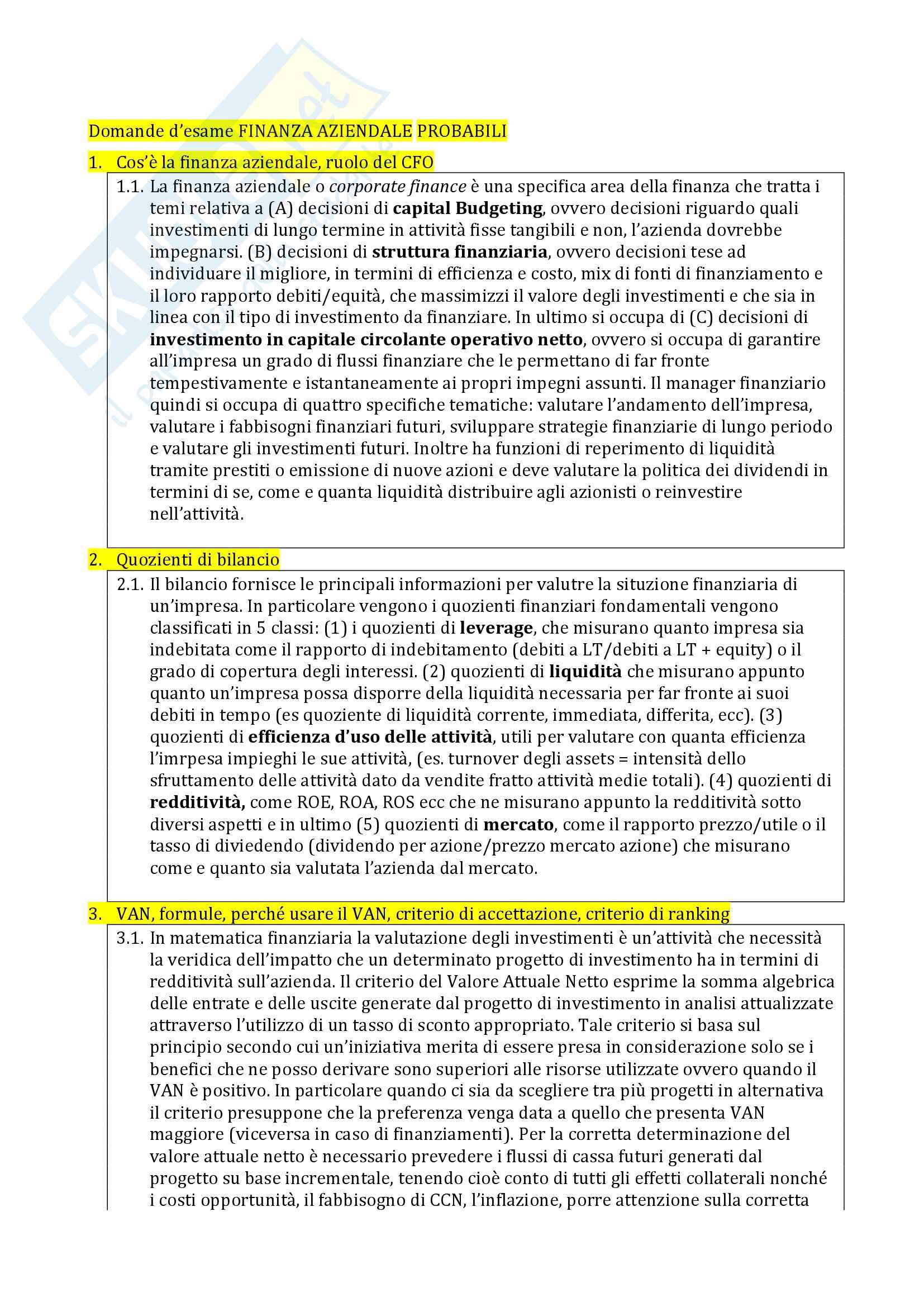 Domande d'esame Finanza aziendale e probabili