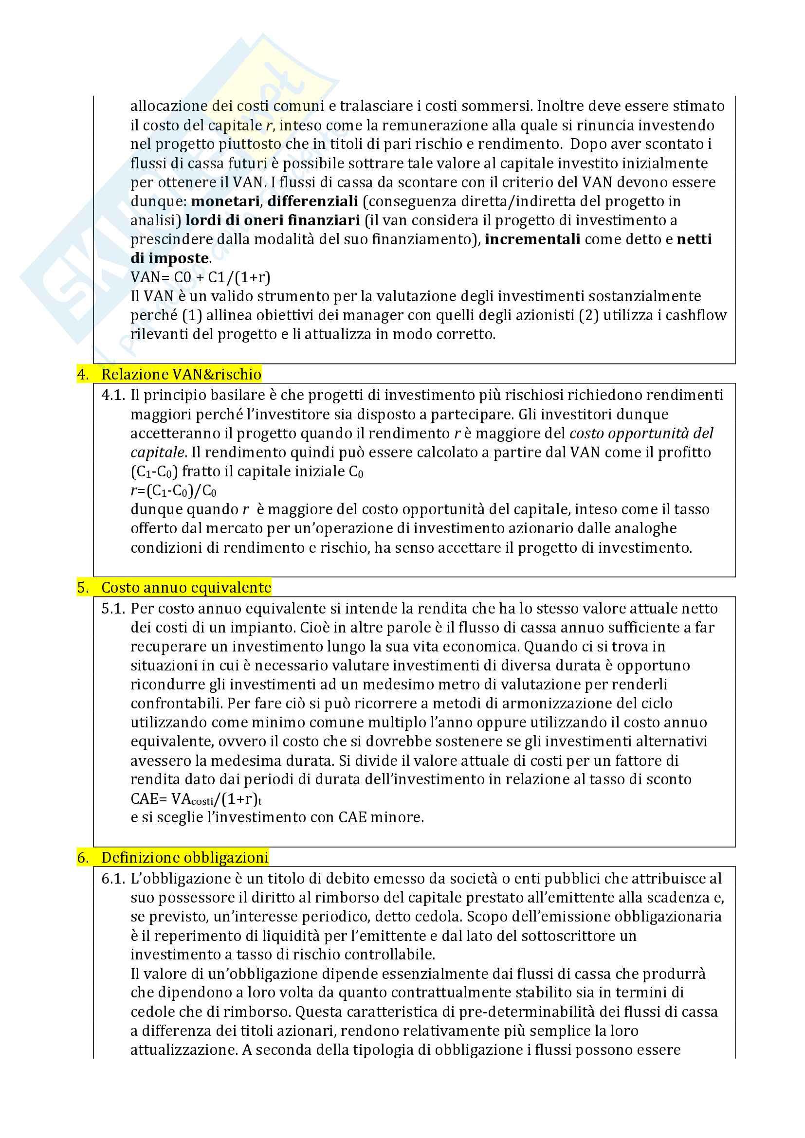 Domande d'esame Finanza aziendale e probabili Pag. 2