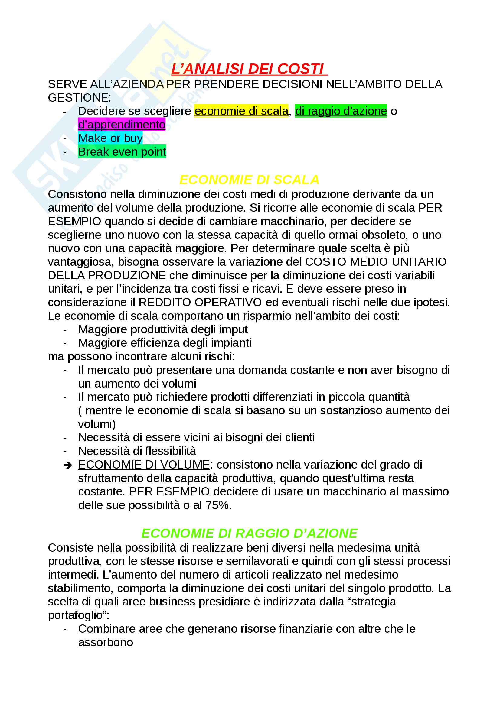 Costi e analisi dei costi Pag. 2
