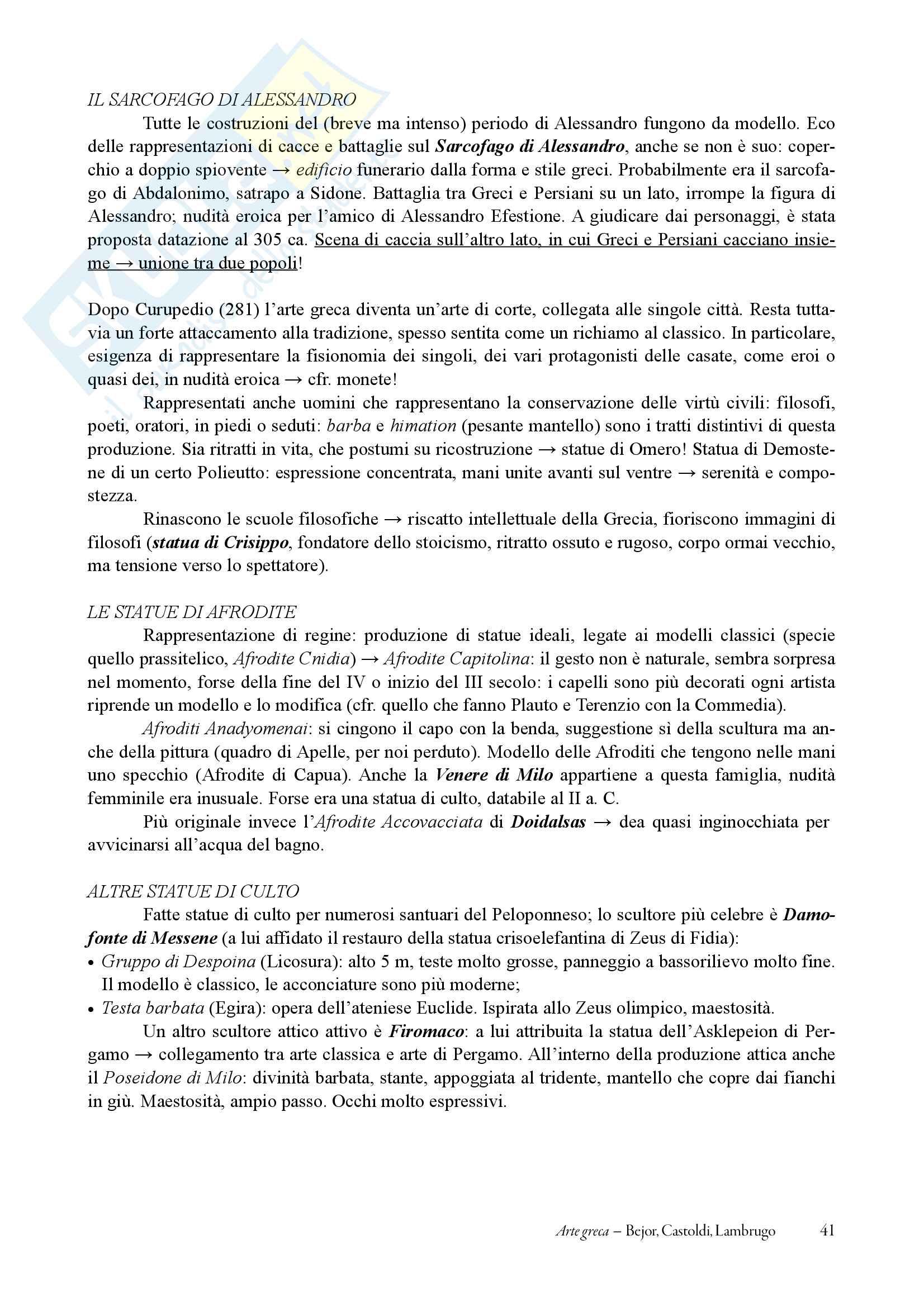 """Riassunto esame Arte e archeologia greca, prof.Bejor, libro consigliato """"Arte greca dal X al I sec a.C."""" di Bejor, Castoldi, Lamburgo Pag. 41"""