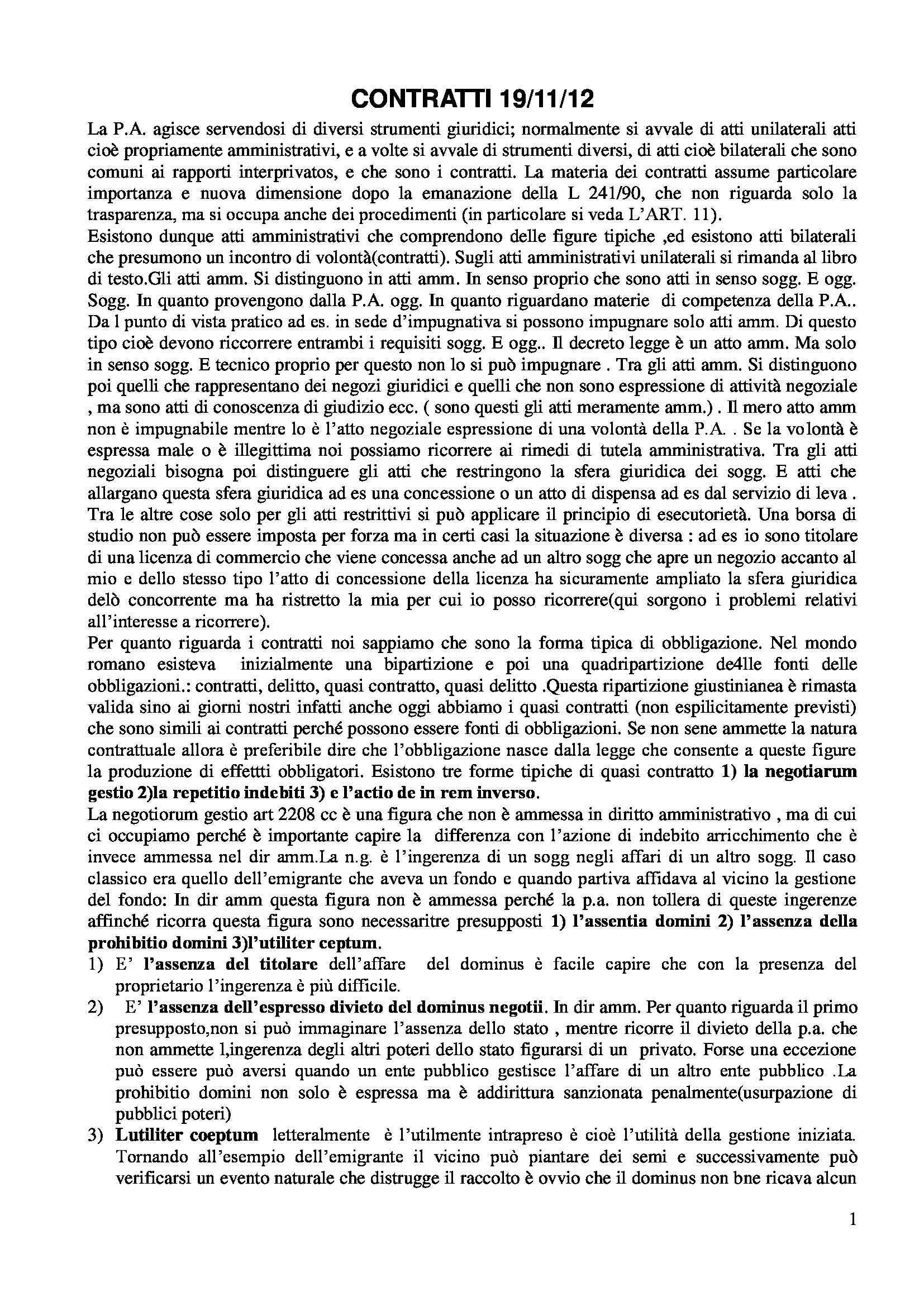 Diritto amministrativo - contratti