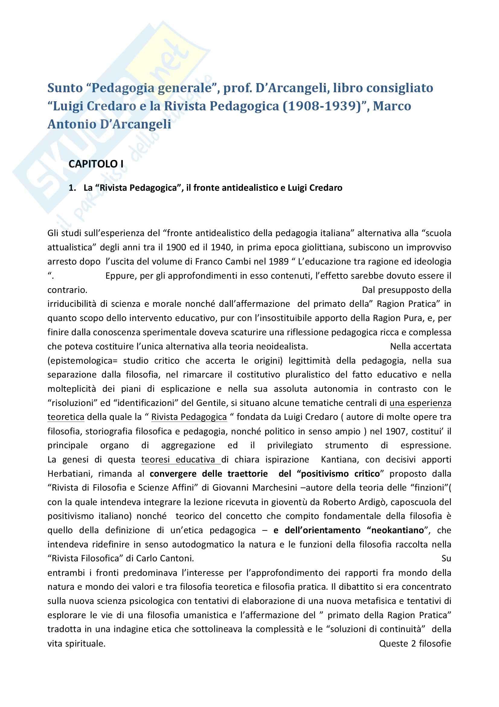 Riassunto esame Pedagogia generale, prof. D'Arcangeli, libro consigliato Luigi Credaro e la Rivista Pedagogica (1908-1939), D'Arcangeli