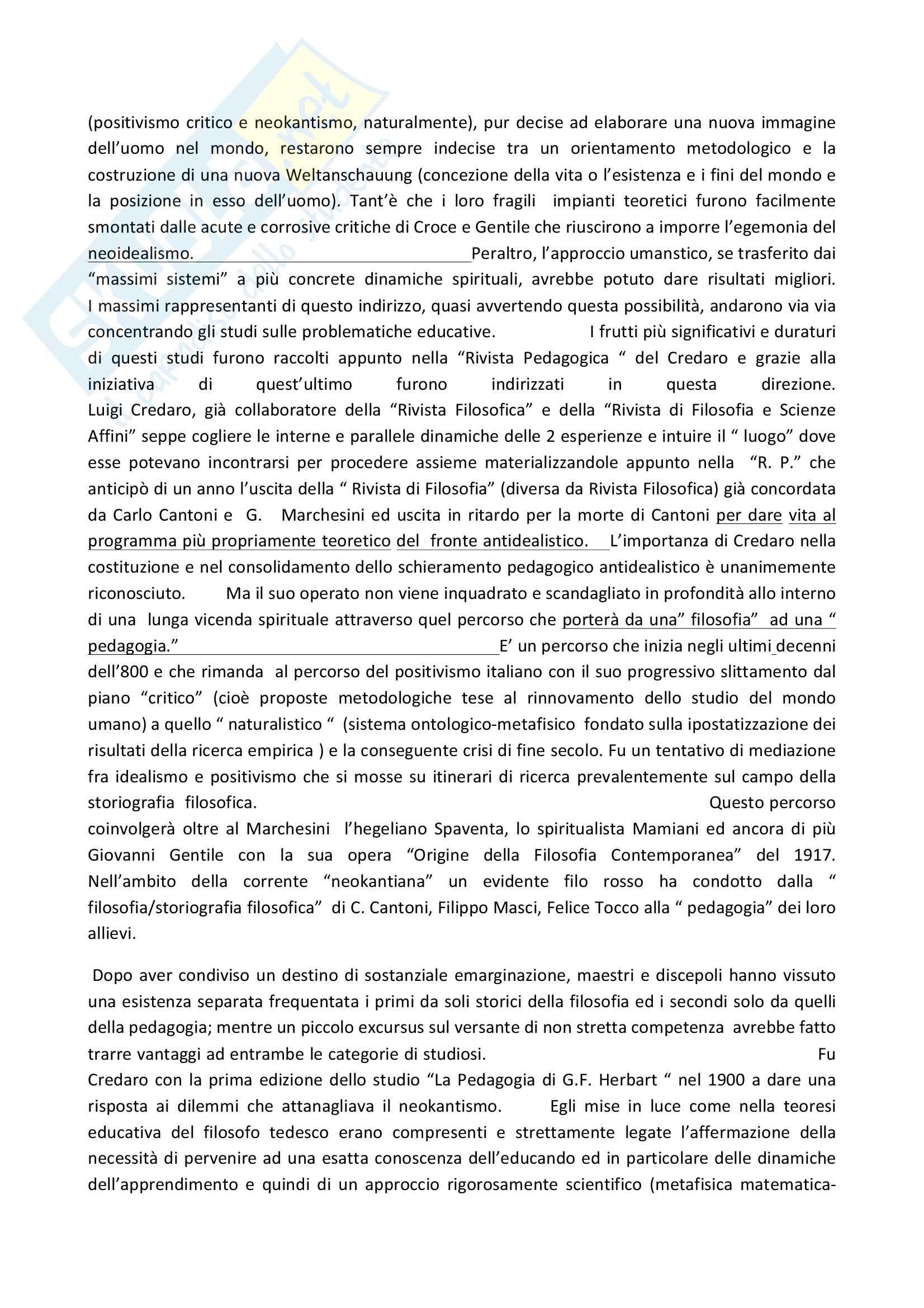 Riassunto esame Pedagogia generale, prof. D'Arcangeli, libro consigliato Luigi Credaro e la Rivista Pedagogica (1908-1939), D'Arcangeli Pag. 2