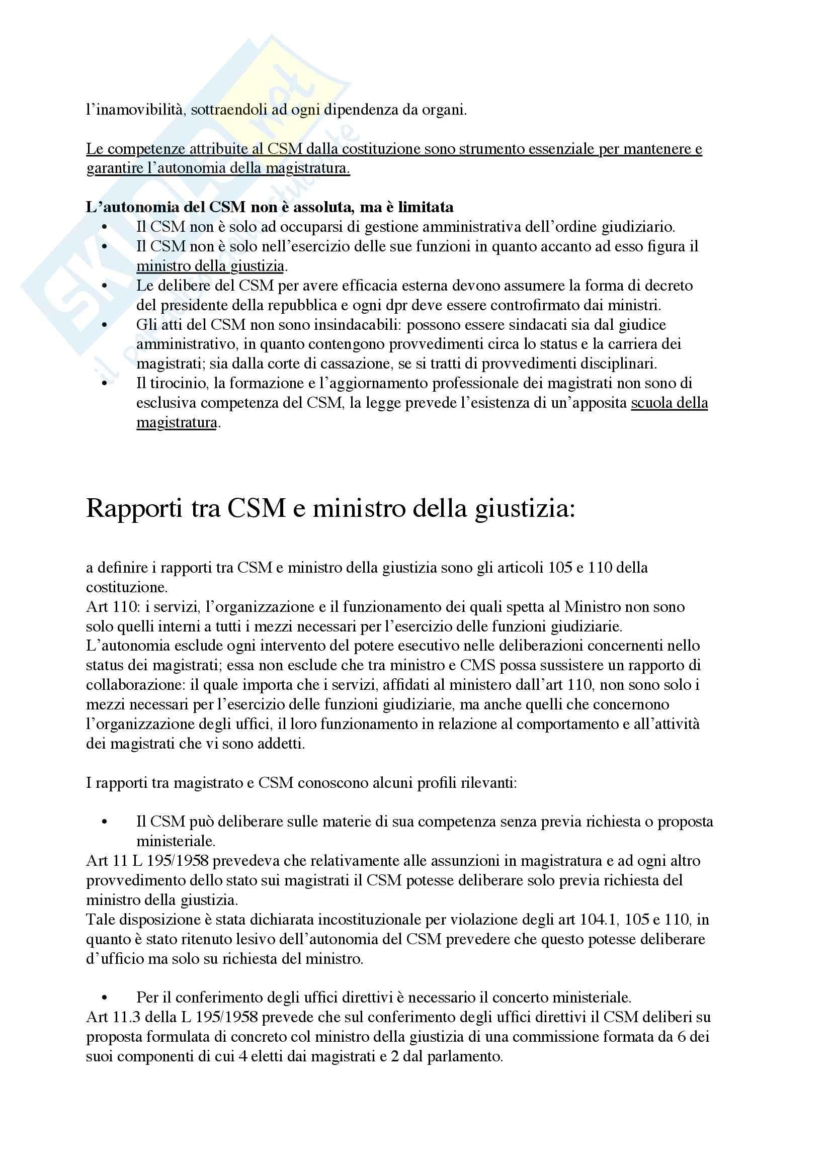 Riassunto esame Diritto Costituzionale, prof. Haider, libro consigliato Ordinamento Giudiziario, Di Federico Pag. 11