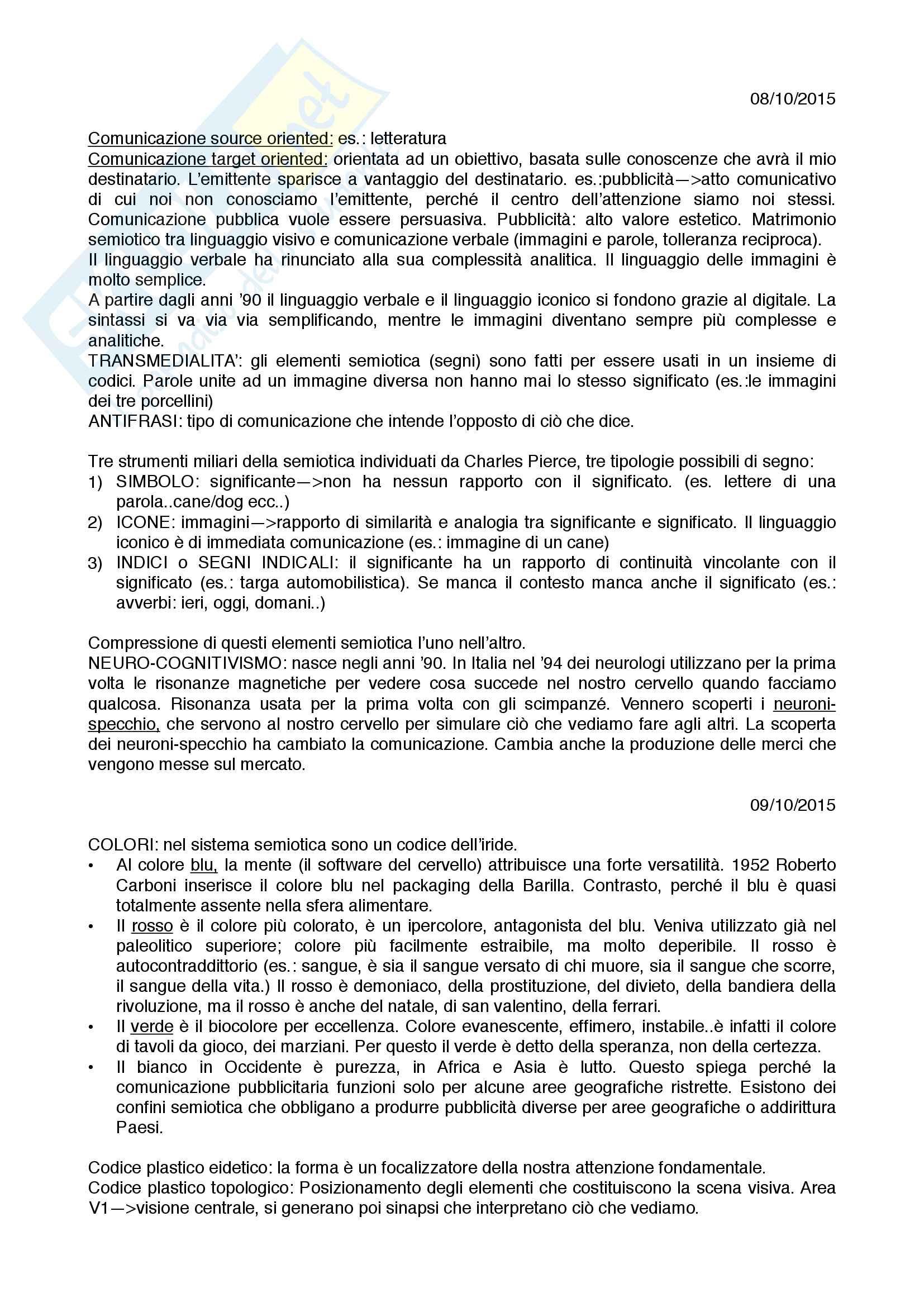Appunti Corso di Semiotica Prof. Calabrese, IULM