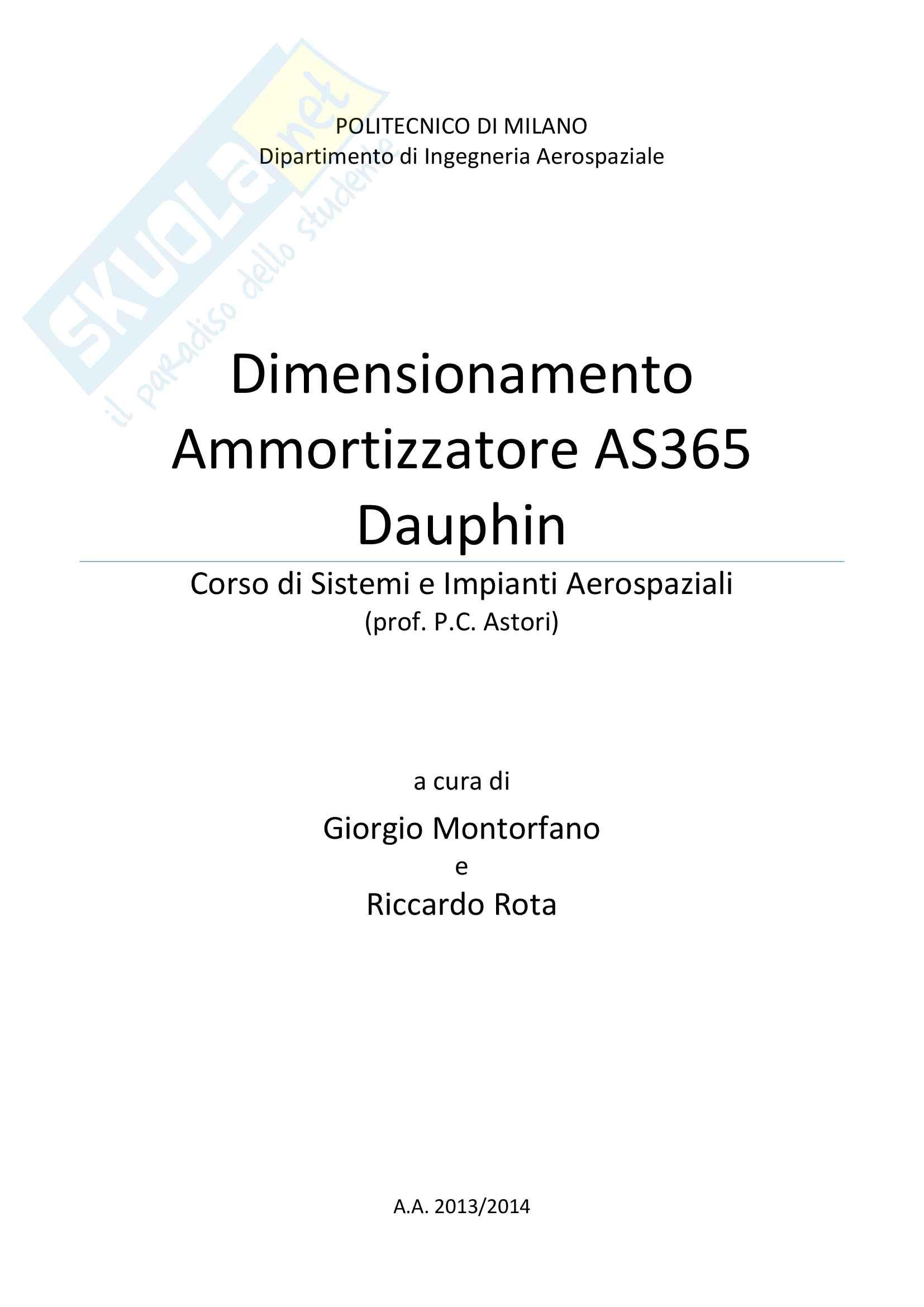 Dimensionamento Ammortizzatore AS365 Dauphin