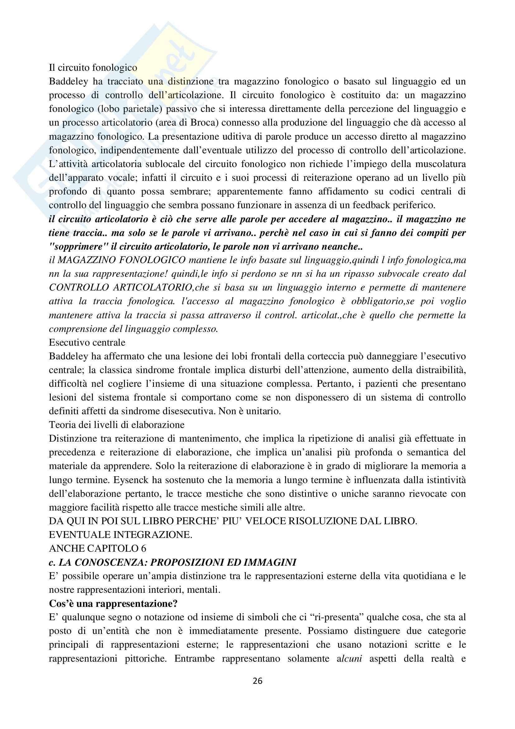 Riassunto esame Psicologia cognitiva, prof. Velardi, libro consigliato Psicologia cognitiva di Eysenck, Keane Pag. 26