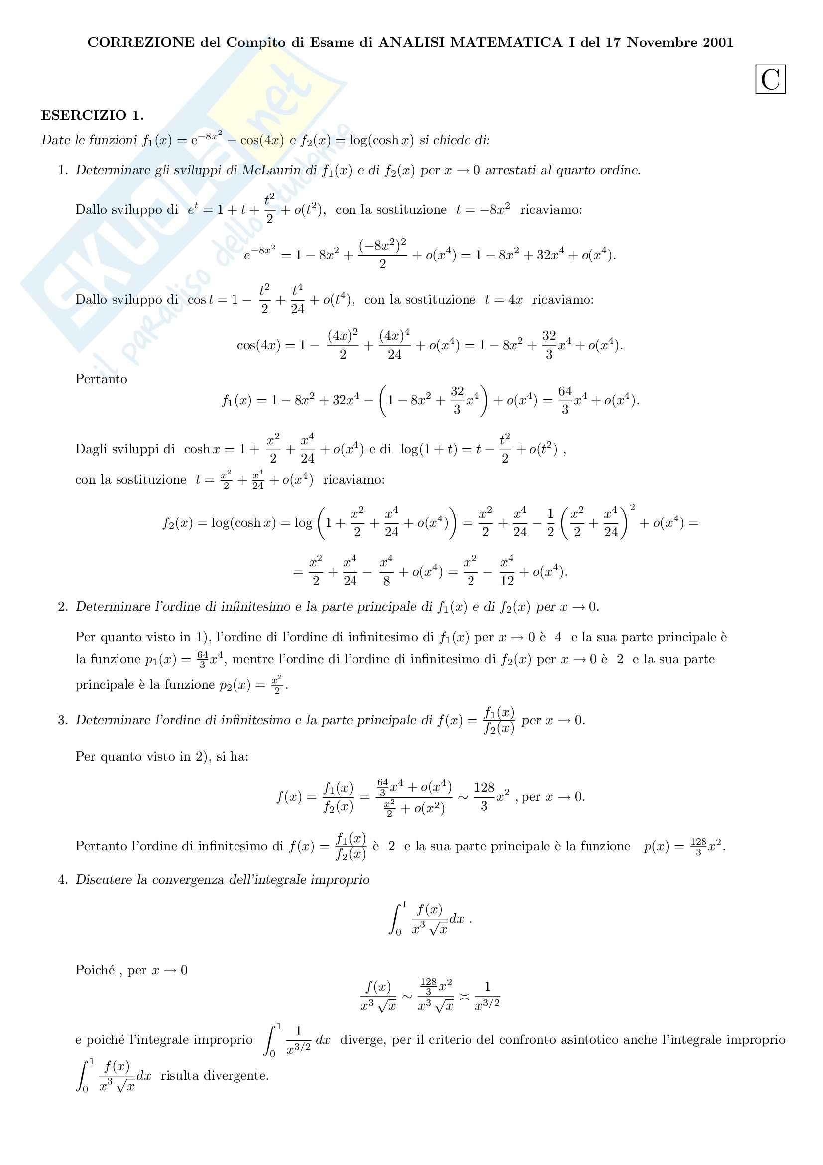 Analisi Matematica 1 - Esercizi