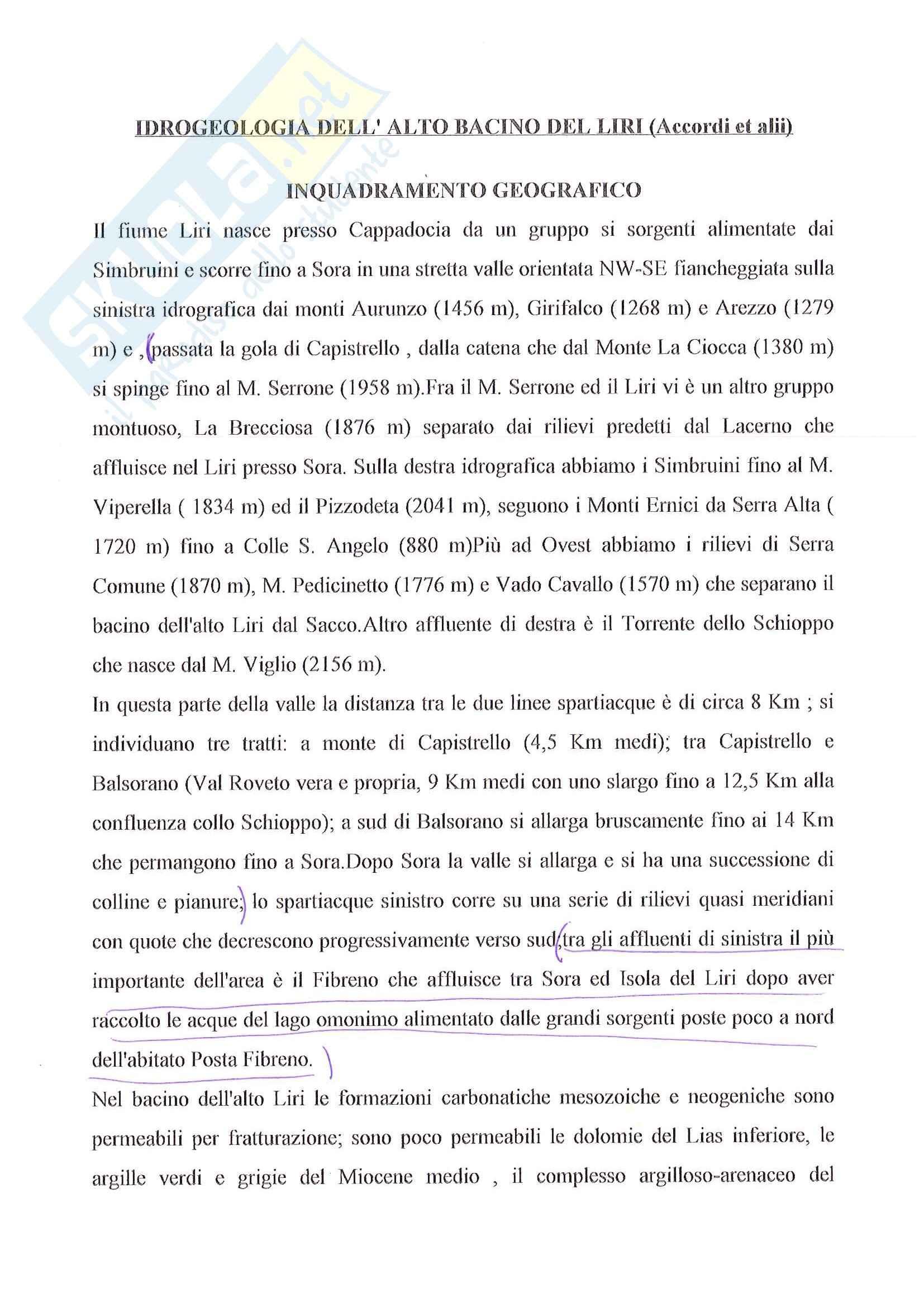 Riassunto esame Idrogeologia: Idrogeologia dell'Alto Bacino del Liri Accordi et Alii, prof. Petitta
